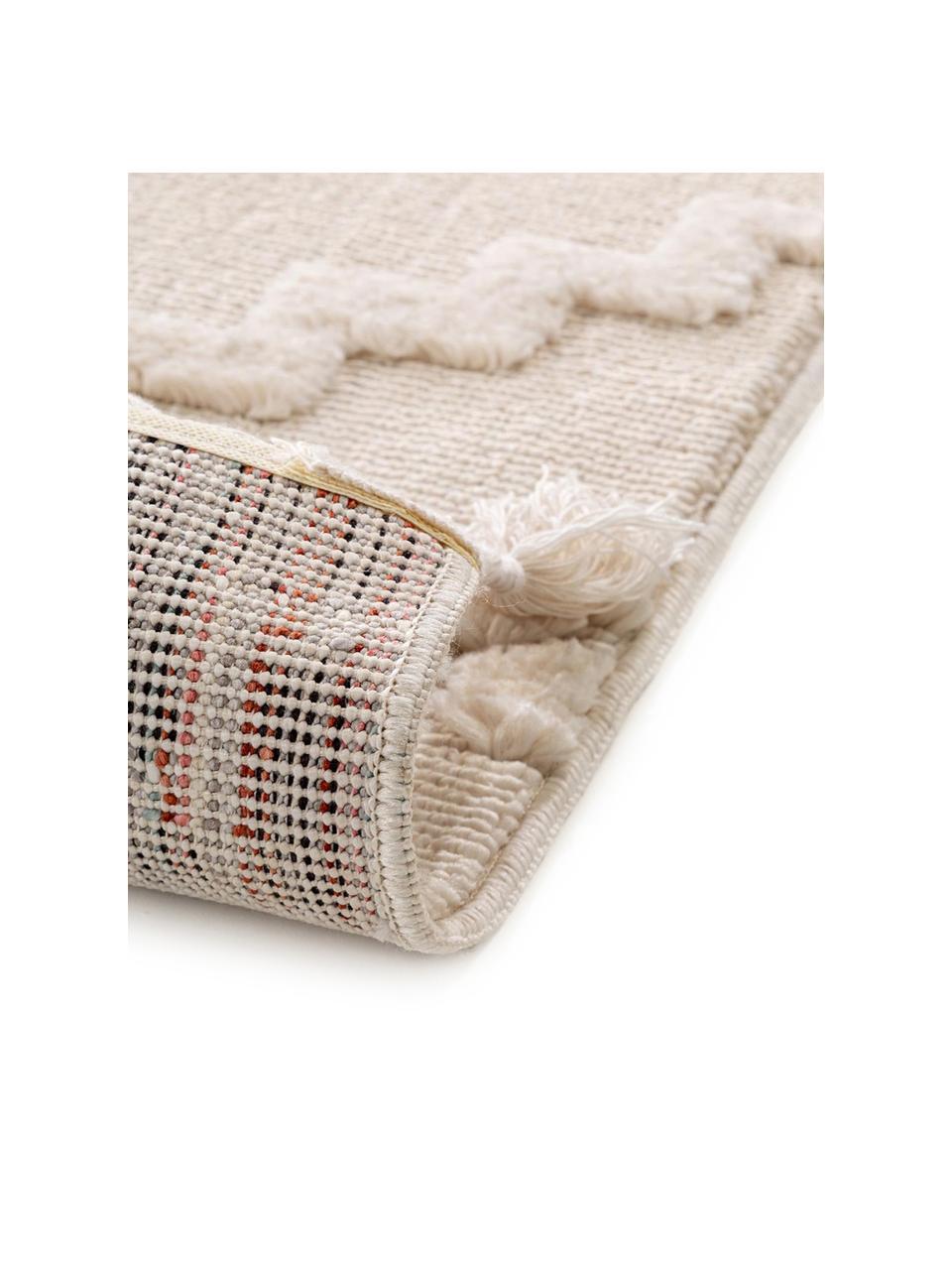 Teppich Oyo in Creme mit Hoch-Tief-Muster im Boho Stil, Flor: 100% Polyester, Creme, B 200 x L 290 cm (Größe L)