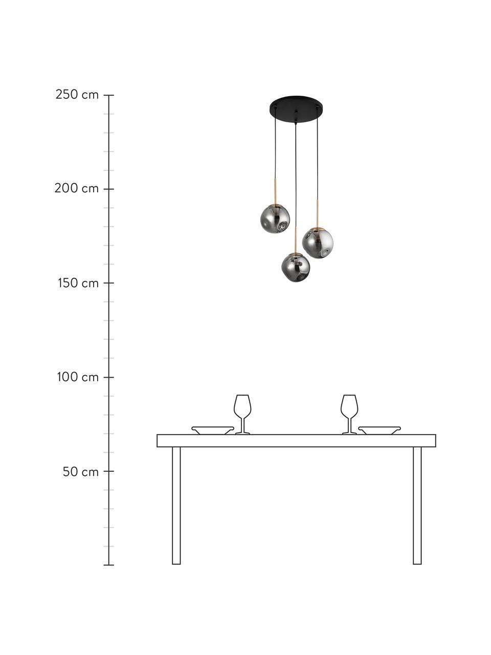 Lampa wisząca ze szkła Spada, Odcienie mosiądzu, szary, Ø 40