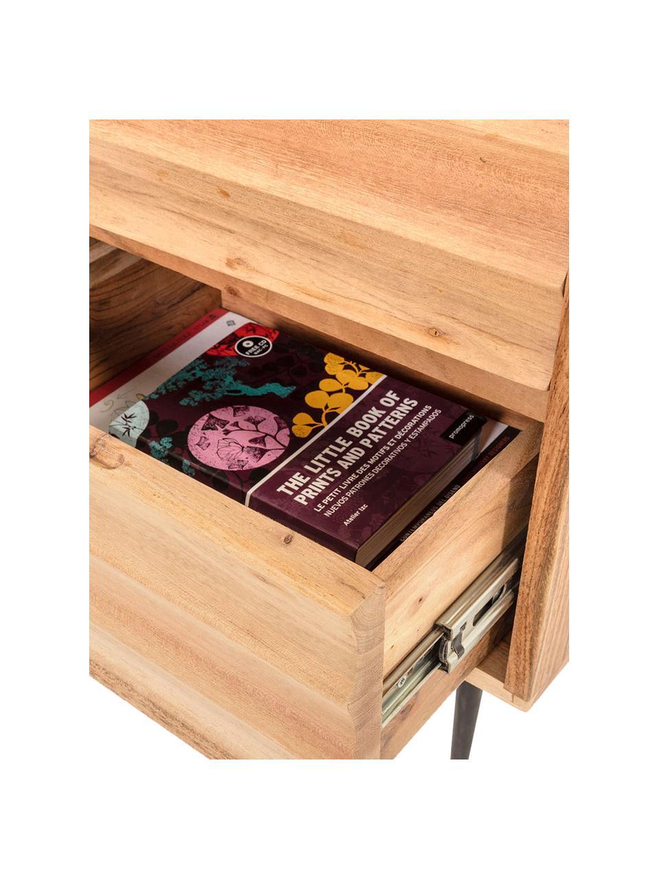 Comodino in legno con cassetti Delsie, Legno, metallo, Beige, nero, Larg. 40 x Alt. 55 cm