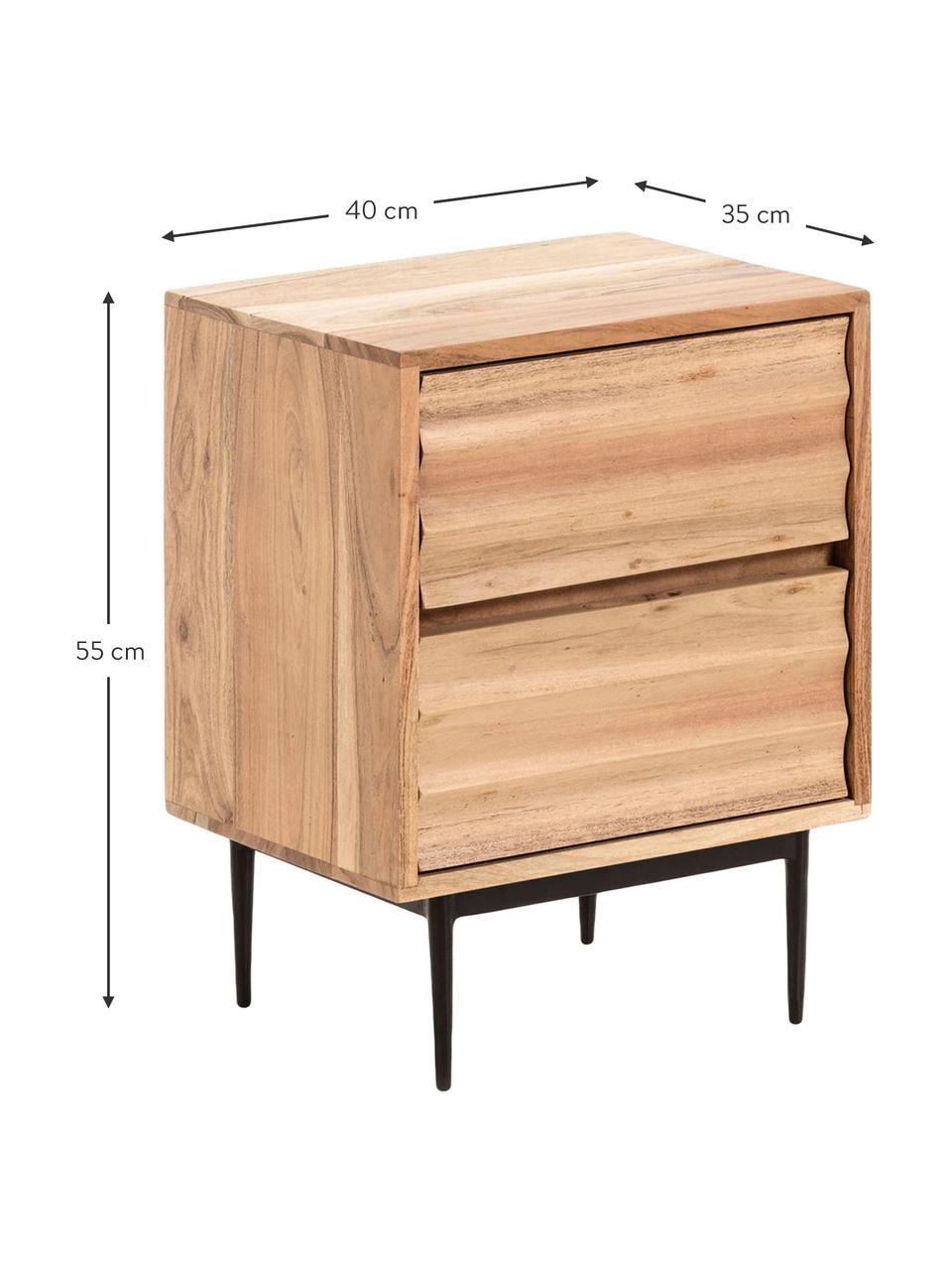 Holz-Nachttisch Delsie mit Schubladen, Holz, Metall, Beige, Schwarz, 40 x 55 cm