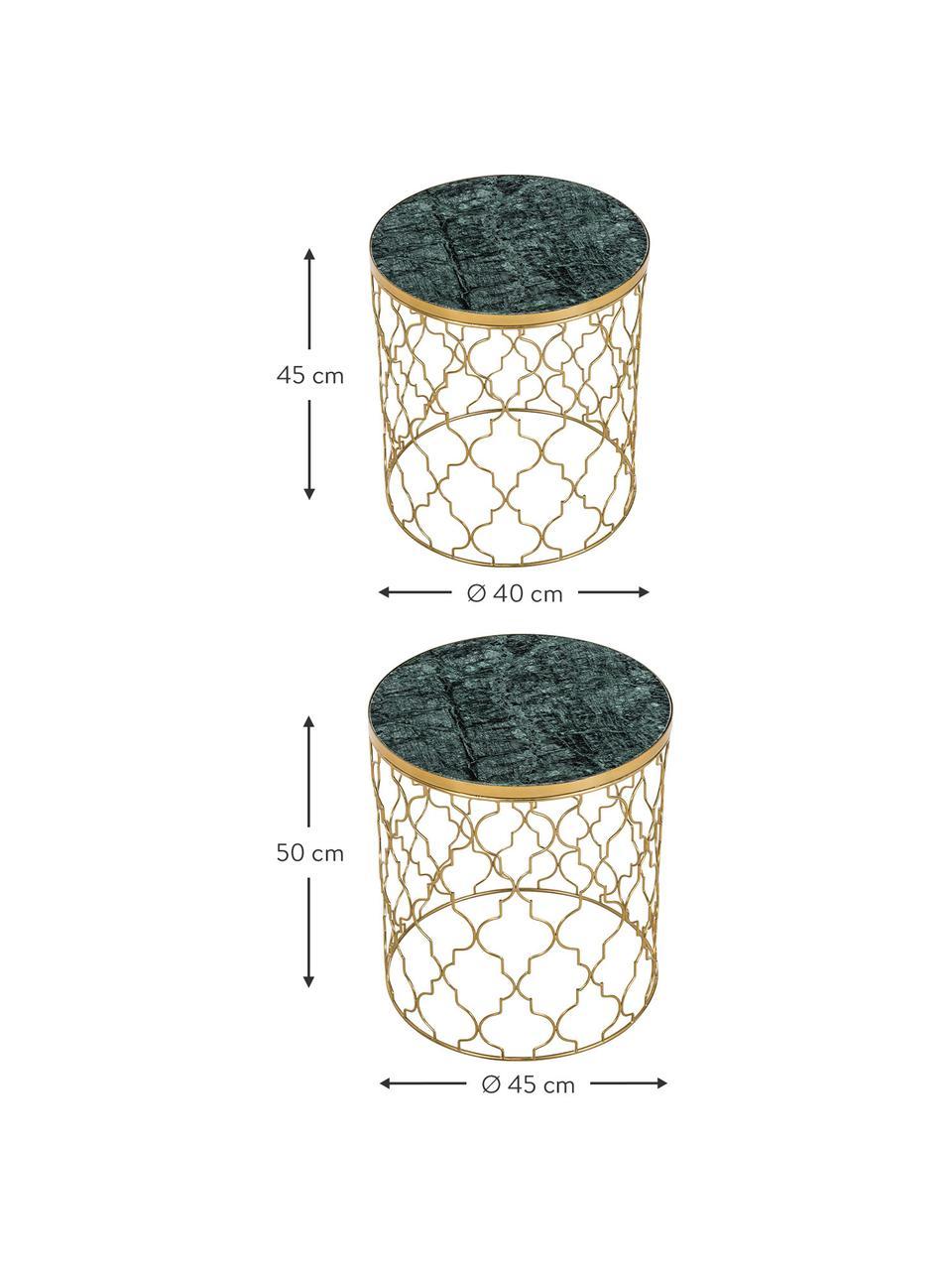 Marmor-Beistelltisch-Set Blake, 2-tlg., Grüner Marmor, Goldfarben, Sondergrößen