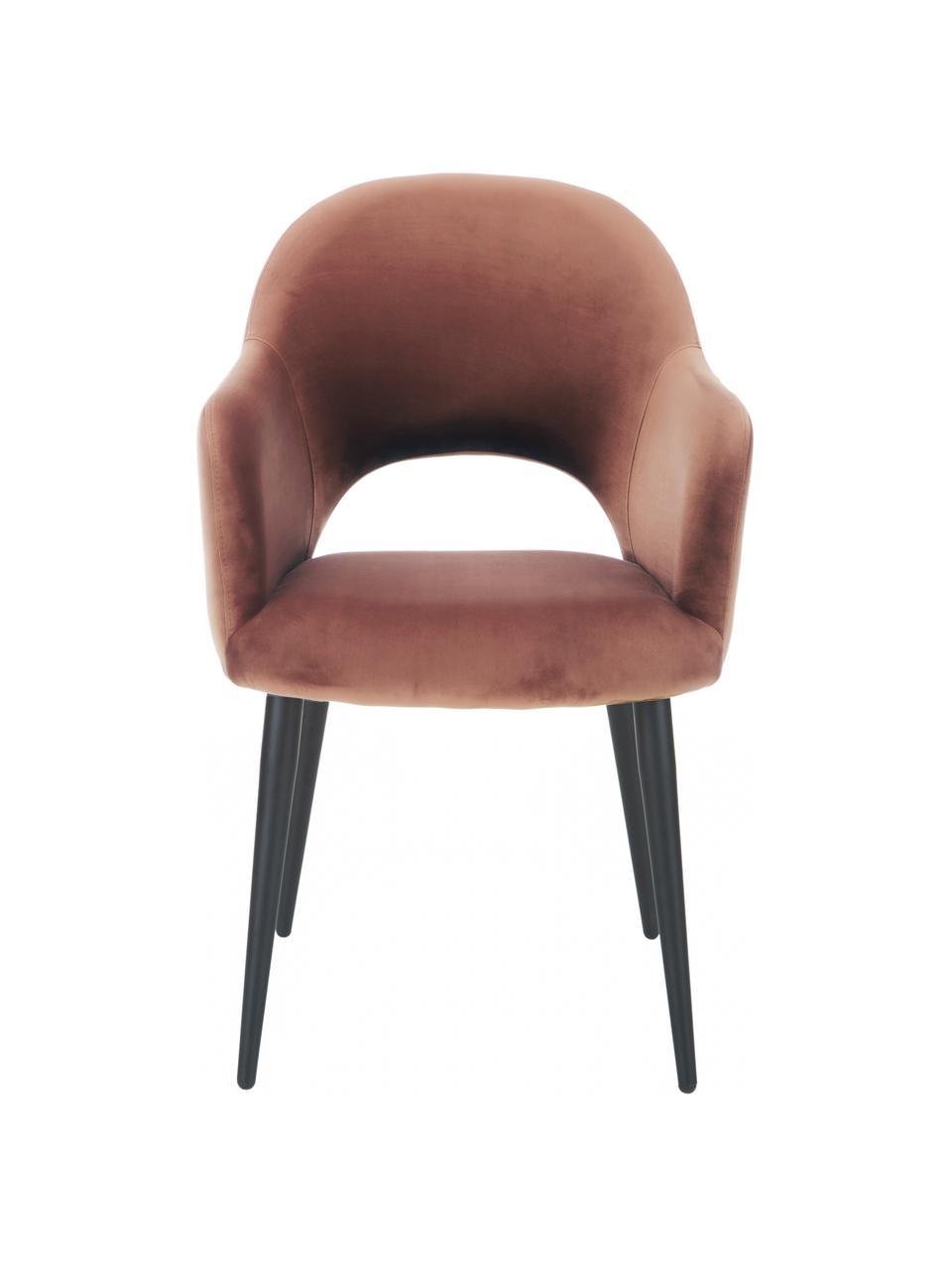 Sametová židle spodručkami Rachel, Hnědá