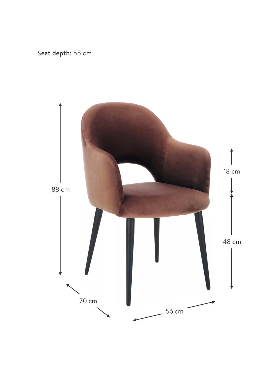 Krzesło z podłokietnikami z aksamitu Rachel, Tapicerka: aksamit (wysokiej jakości, Nogi: metal malowany proszkowo, Aksamitny brązowy, S 56 x G 70 cm