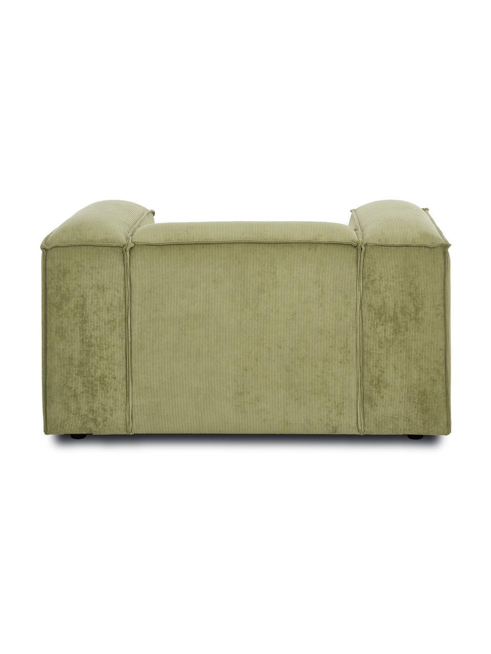 Fotel ze sztruksu Lennon, Tapicerka: sztruks (92% poliester, 8, Stelaż: lite drewno sosnowe, skle, Nogi: tworzywo sztuczne Nogi zn, Sztruksowy zielony, S 130 x G 101 cm