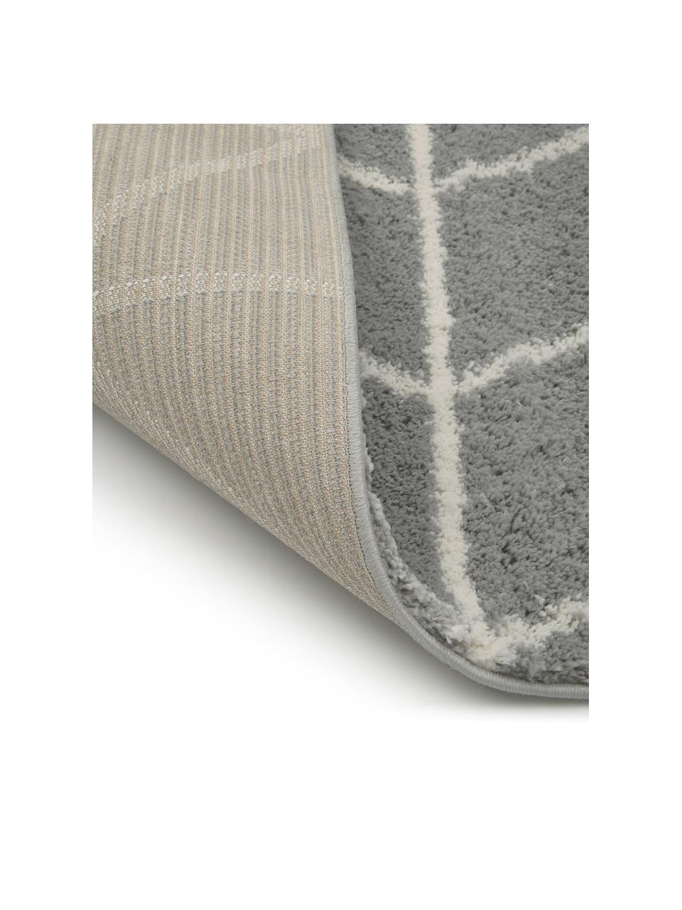 Passatoia a pelo lungo grigio/bianco crema Cera, Retro: 78% juta, 14% cotone, 8% , Grigio, bianco crema, Larg. 80 x Lung. 250 cm