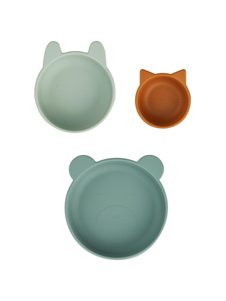 Schälchen-Set Eddie, 3-tlg., 100% Silikon, Grün, Pastellgrün, Orange, Set mit verschiedenen Größen