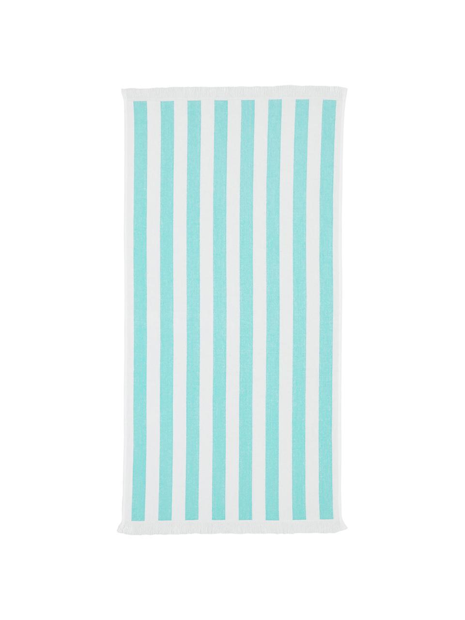 Ręcznik plażowy Mare, 100% bawełna Niska gramatura 380 g/m², Turkusowy, biały, S 80 x D 160 cm