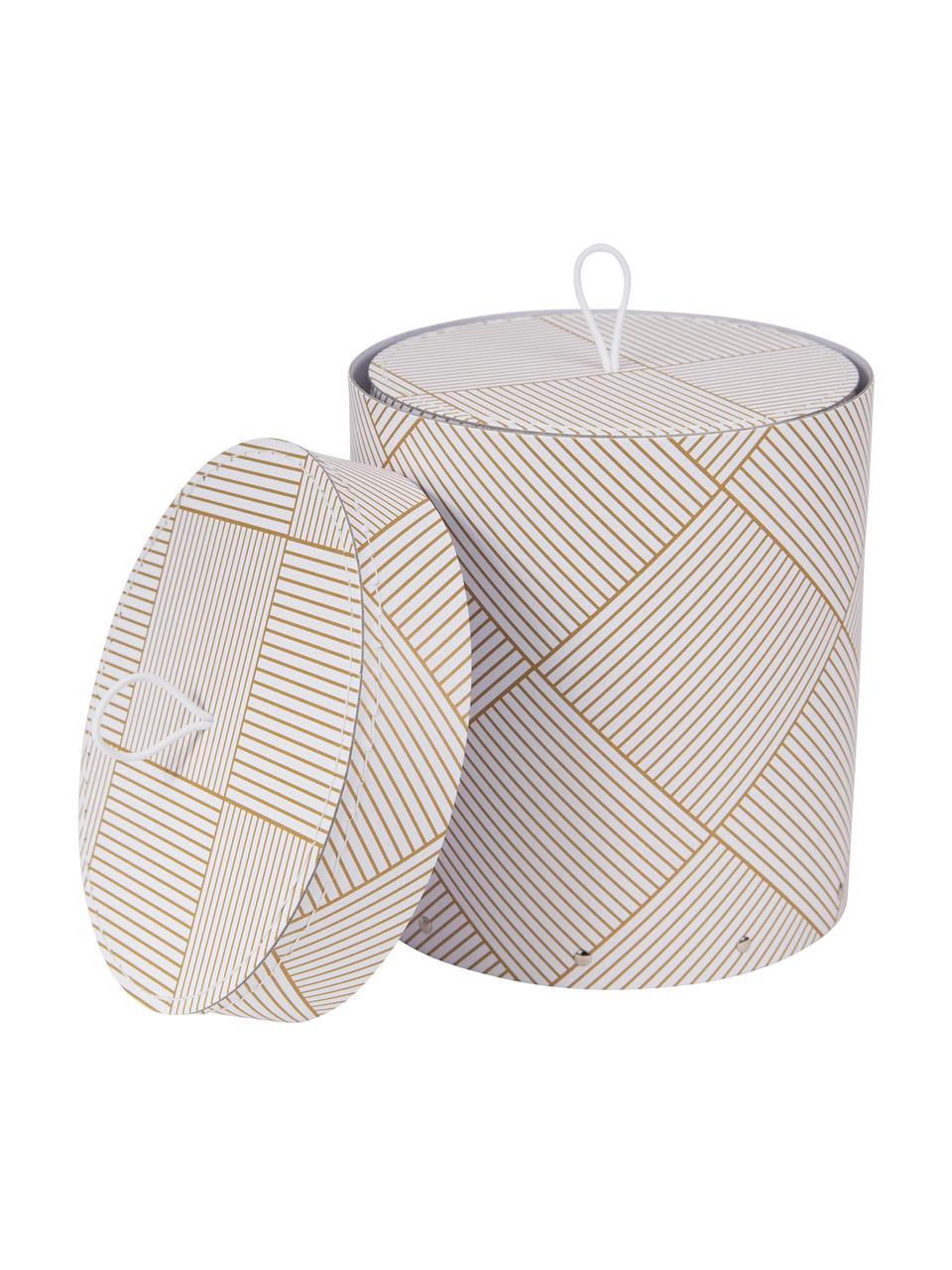 Set 2 scatole con coperchio Hanna, Scatola: solido, cartone laminato, Maniglia: gomma, Dorato, bianco, Set in varie misure