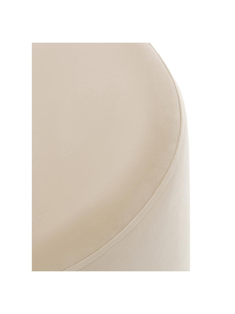 Fluwelen poef Daisy, Bekleding: fluweel (polyester), Frame: multiplex, Fluweel beige, Ø 54 x H 38 cm