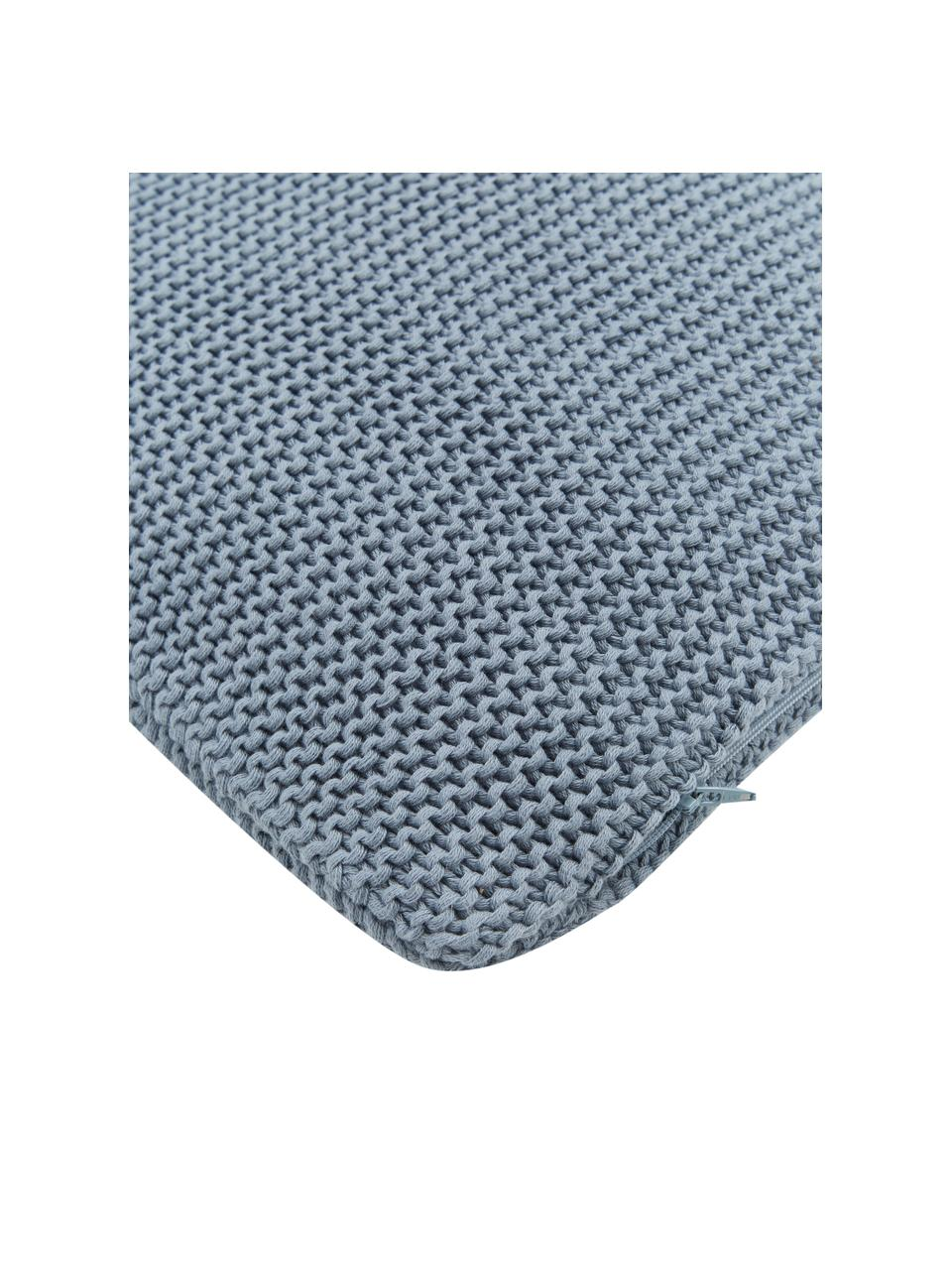Strick-Kissenhülle Adalyn aus Bio-Baumwolle in Blau, 100% Bio-Baumwolle, GOTS-zertifiziert, Blau, 30 x 50 cm