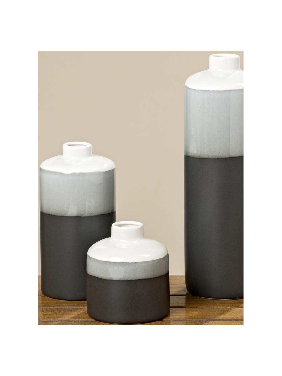 Vase en porcelaine Brixa, 3élém., Noir, gris, blanc, mat