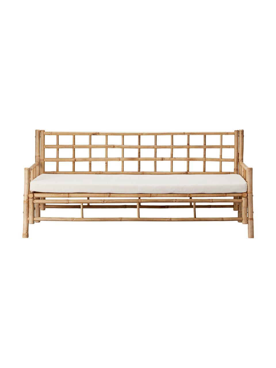 Divano da giardino in bambù con cuscino Mandisa (3 posti), Struttura: legno di bambù, non tratt, Rivestimento: tela, Legno di bambù, bianco, Larg. 180 x Prof. 70 cm