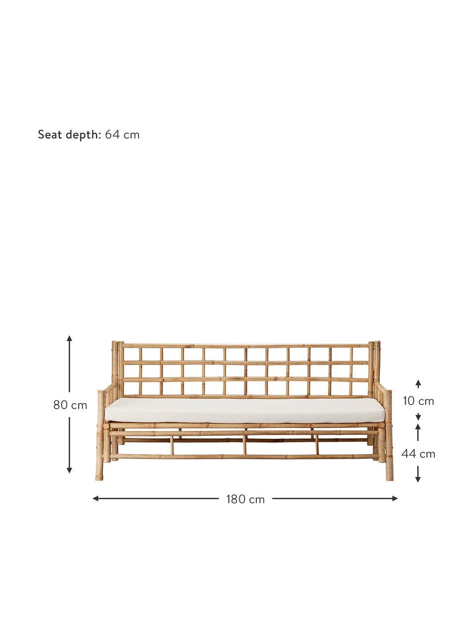 Bambus-Sofa Mandisa (3-Sitzer) mit Sitzpolster, Gestell: Bambus, unbehandelt, Bezug: Segeltuch, Bambus, Weiß, B 180 x T 70 cm