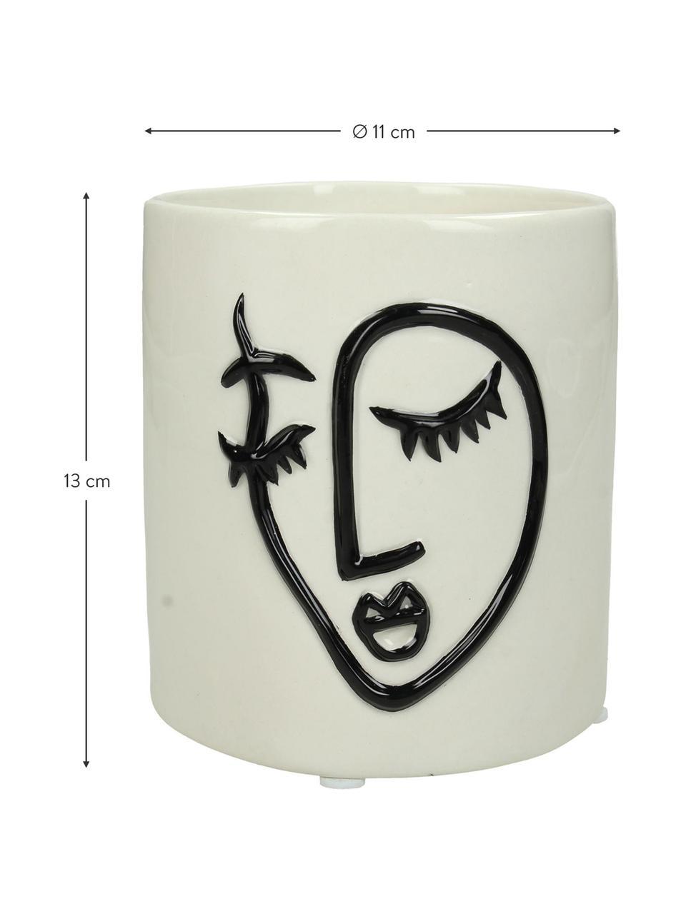 XS Übertopf Face aus Dolomitstein, Dolomit, Gebrochenes Weiß, Schwarz, Ø 11 x H 13 cm