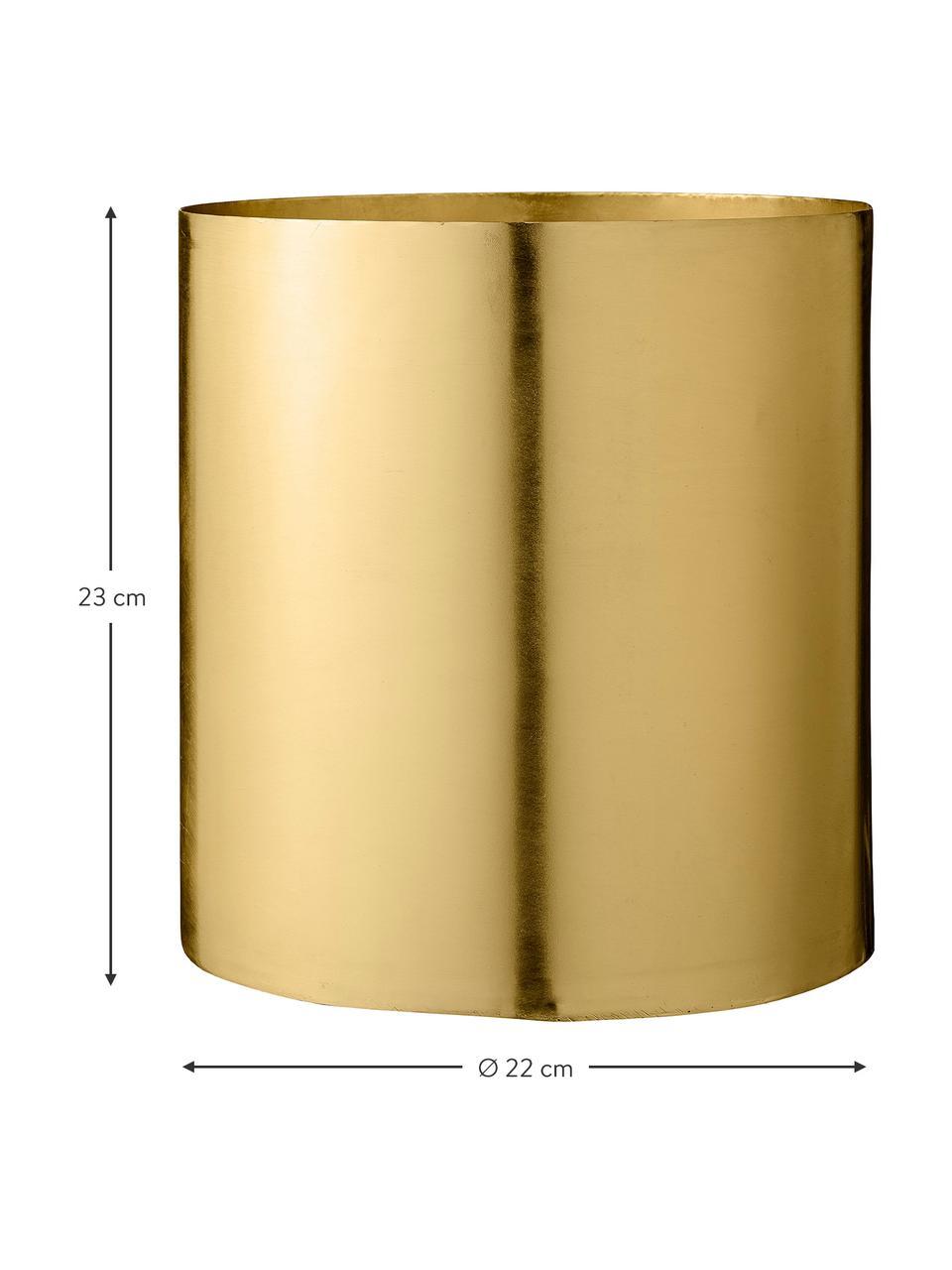 Duża osłonka na doniczkę z metalu Sharin, Metal mosiądzowany, Mosiądz, Ø 22 x W 23 cm