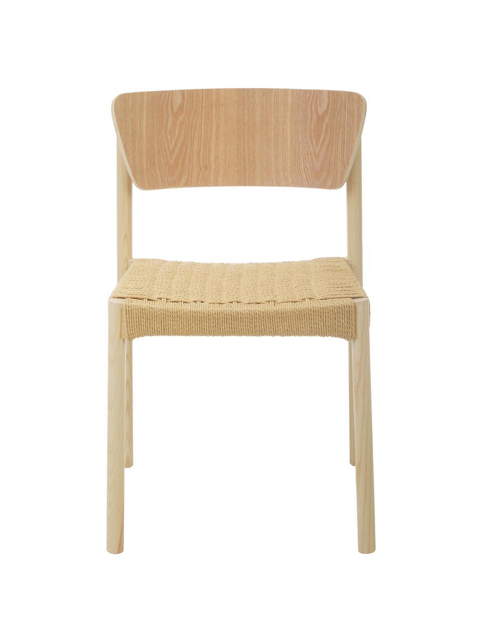 Holzstühle Danny mit Rattan-Sitzfläche, 2 Stück, Gestell: Massives Buchenholz, Sitzfläche: Papierrattan, Rückenlehne: Schichtholz mit Eschenfur, Helles Holz, B 52 x T 51 cm