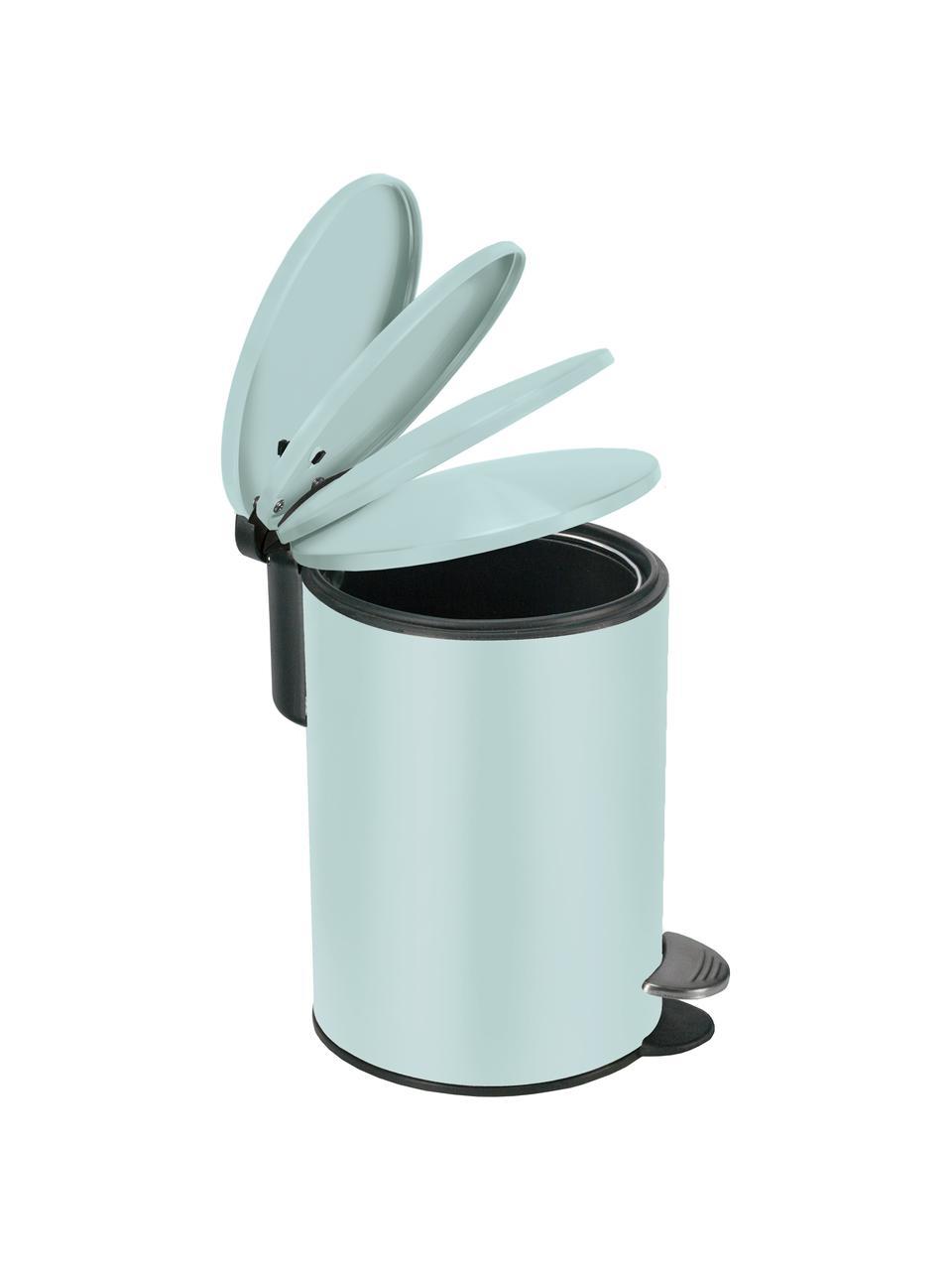 Abfalleimer Silence mit Pedalfunktion, Metall, lackiert, Hellblau, Ø 17 x H 24 cm