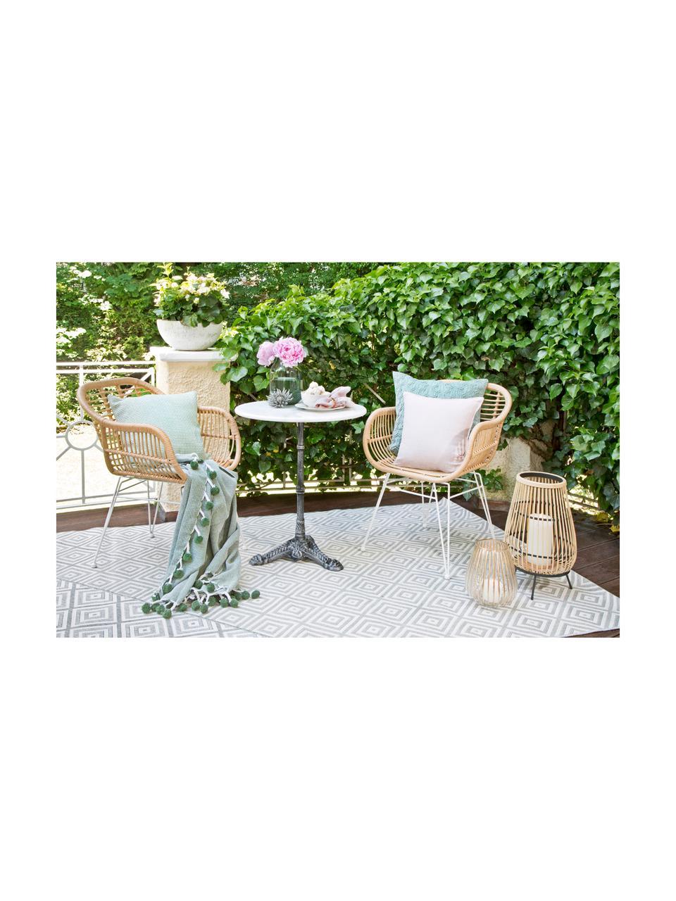 Garten-Bistrotisch Loire mit Marmorplatte, Tischplatte: Marmor, Gestell: Metall, pulverbeschichtet, Weiß, Ø 60 x H 72 cm