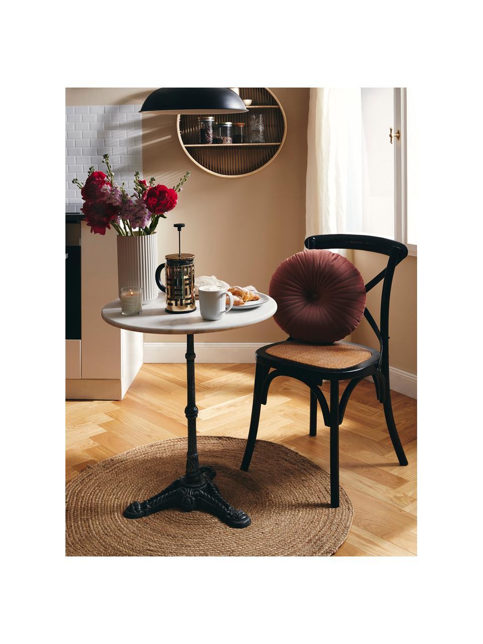 Ronde bistrotafel Loire met marmeren blad, Tafelblad: marmer, Frame: gepoedercoat metaal, Wit, Ø 60 x H 72 cm