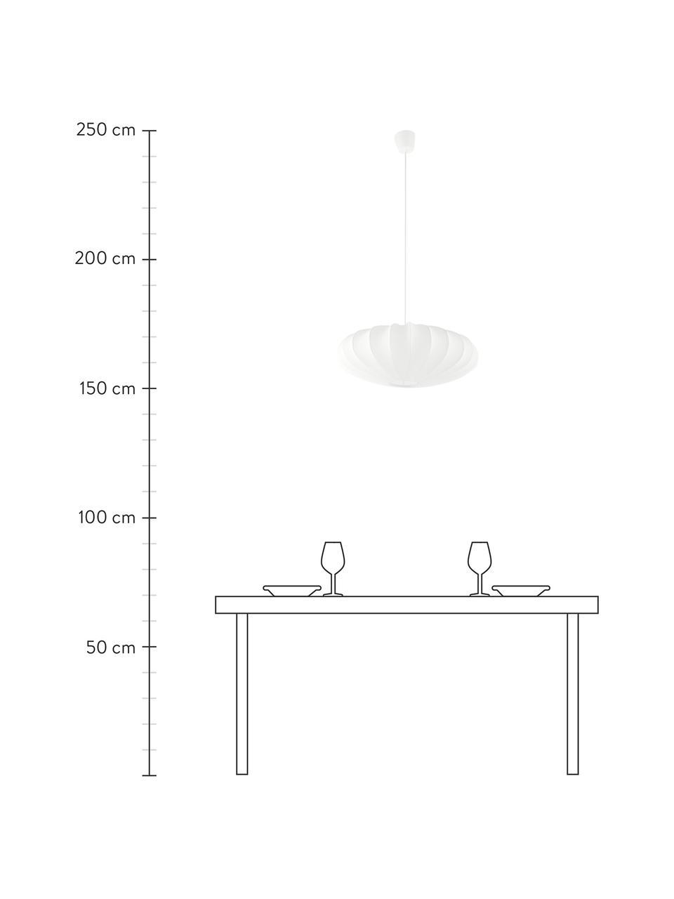 Hanglamp Mamsell van stof, Lampenkap: 60% polyester, 40%rayon, Frame: metaal, Baldakijn: kunststof, Wit, Ø 55  x H 21 cm