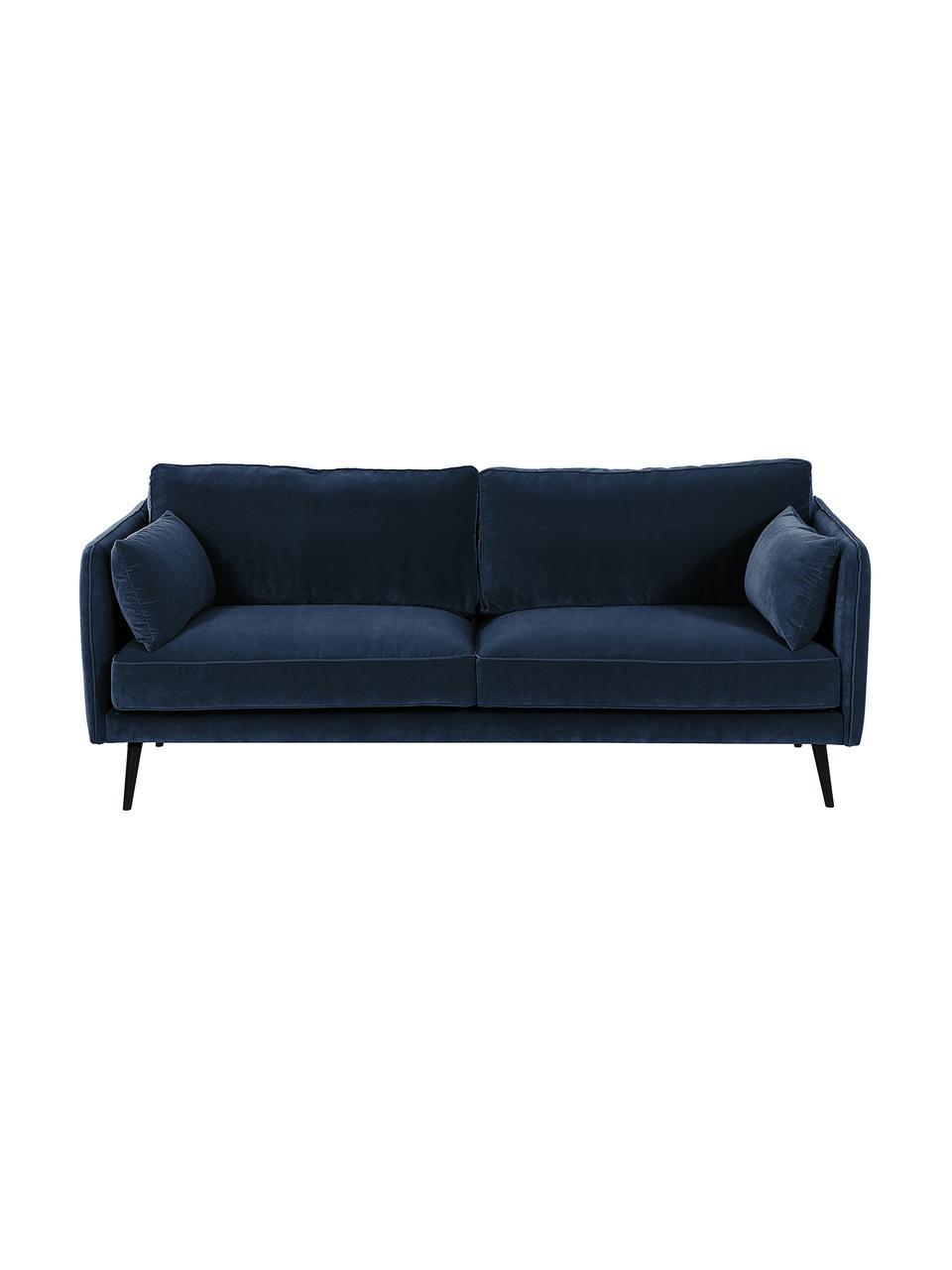 Samt-Sofa Paola (3-Sitzer) in Blau mit Holz-Füßen, Bezug: Samt (Polyester) 70.000 S, Gestell: Massives Fichtenholz, Spa, Füße: Fichtenholz, lackiert, Samt Blau, 209 x 86 cm