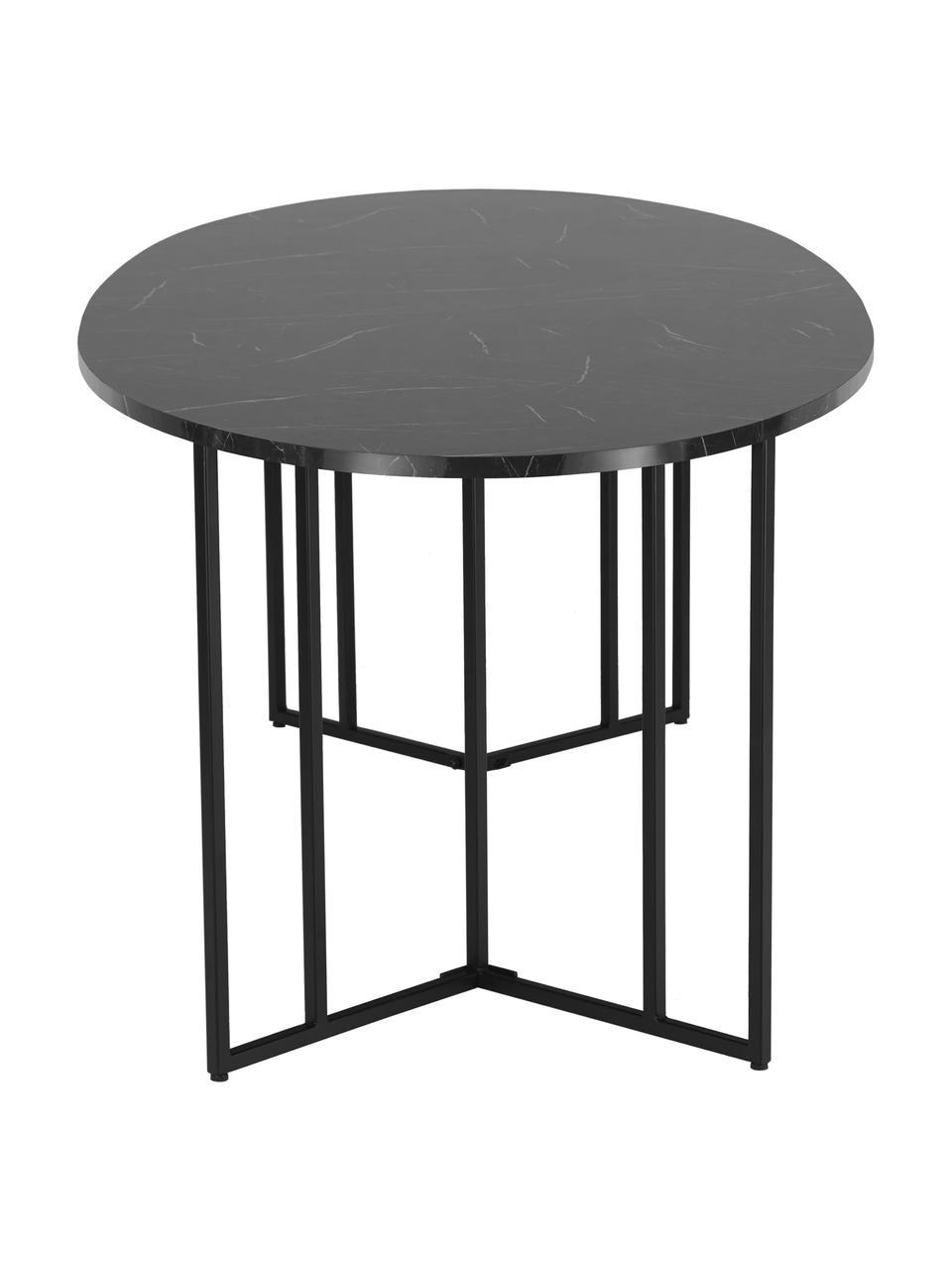 Owalny stół do jadalni z imitacją marmuru Luca, Blat: płyta pilśniowa średniej , Stelaż: metal malowany proszkowo, Czarny, S 240 x G 100 cm