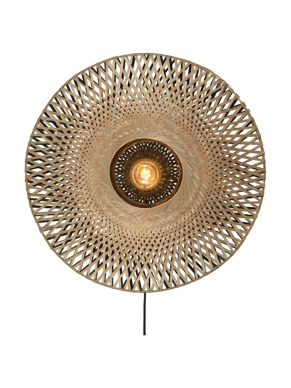Wandleuchte Kalimantan mit Stecker aus Bambus, Lampenschirm: Bambus, Bambus, Schwarz, Ø 60 x T 15 cm