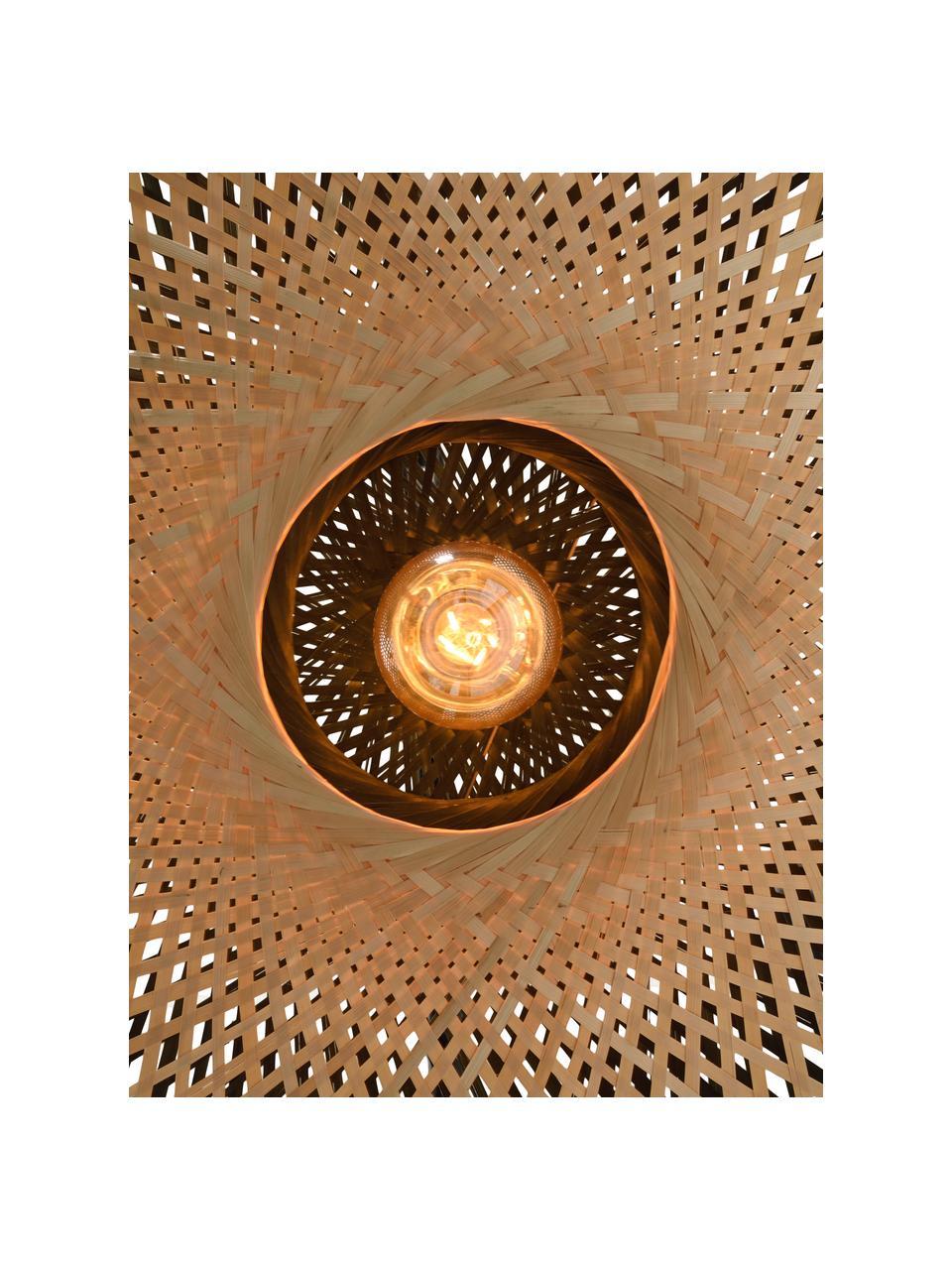 Applique con spina in bambù Kalimantan, Paralume: bambù, Legno di bambù, nero, Ø 60 x Prof. 15 cm