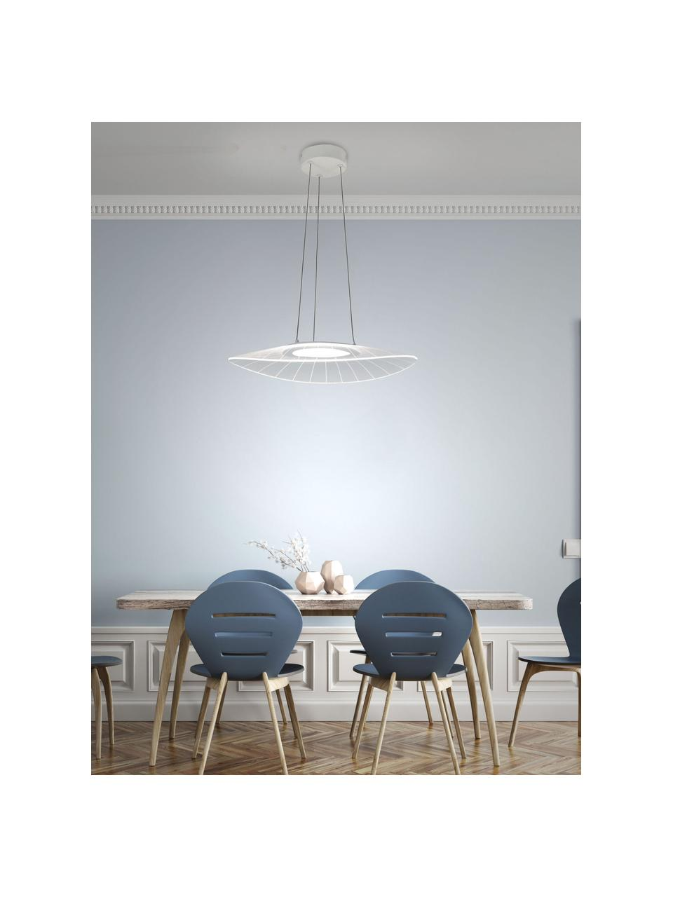 Lampada a sospensione a LED Vela, Paralume: metallo metacrilato Balda, Bianco, Larg. 59 x Prof. 43 cm