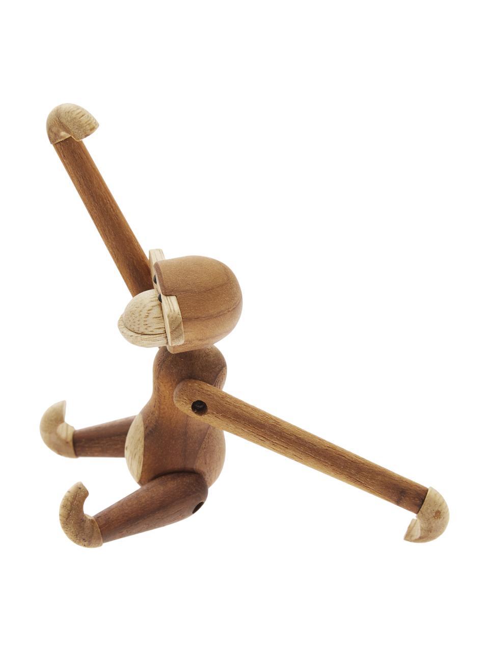 Dekoracja z drewna tekowego Monkey, Drewno tekowe, drewno limba, lakierowane, Drewno tekowe, drewno limba, S 10 x W 10 cm