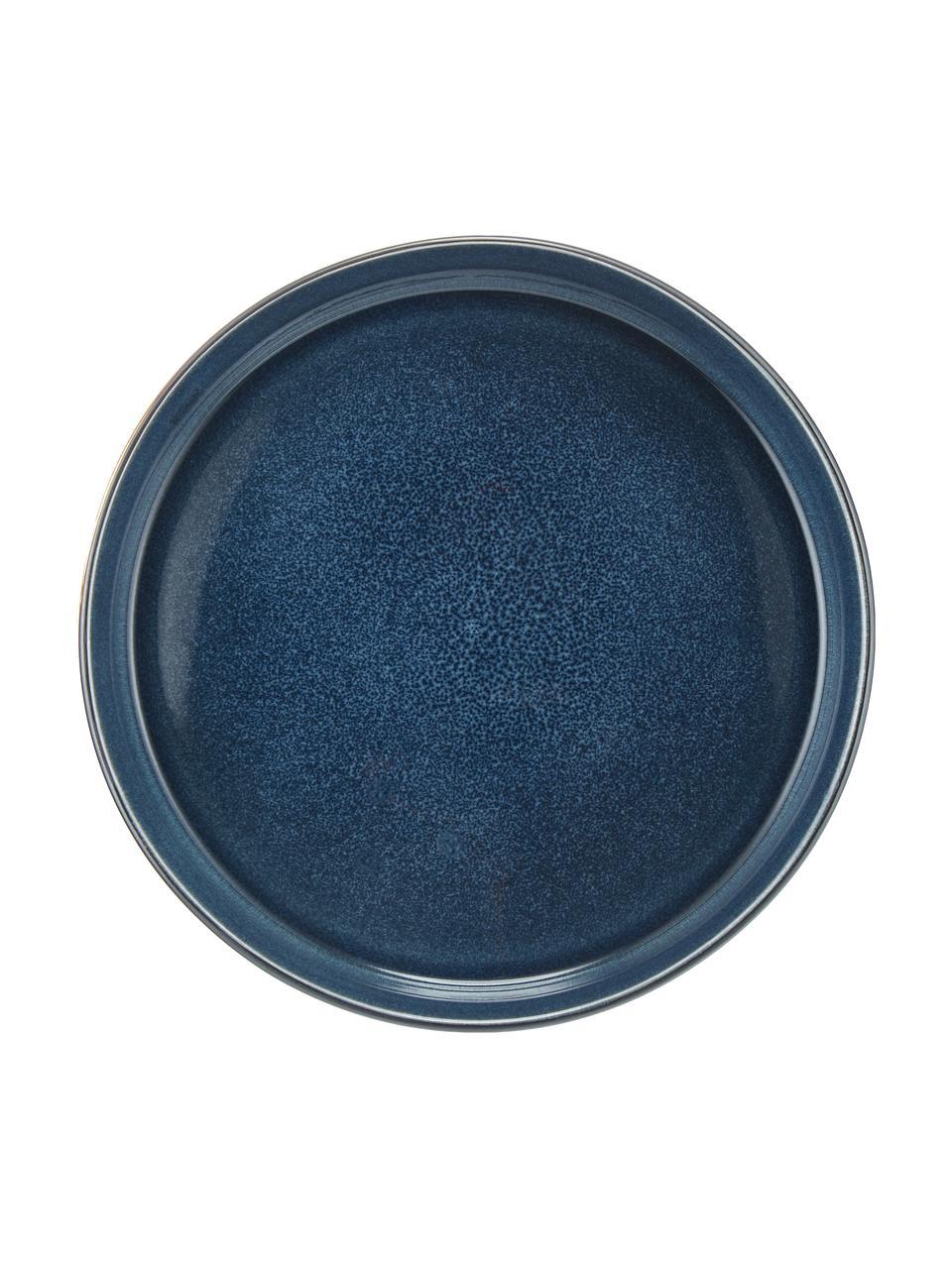 Piatto fondo artigianale Quintana 2 pz, Porcellana, Blu, marrone, Ø 23 cm
