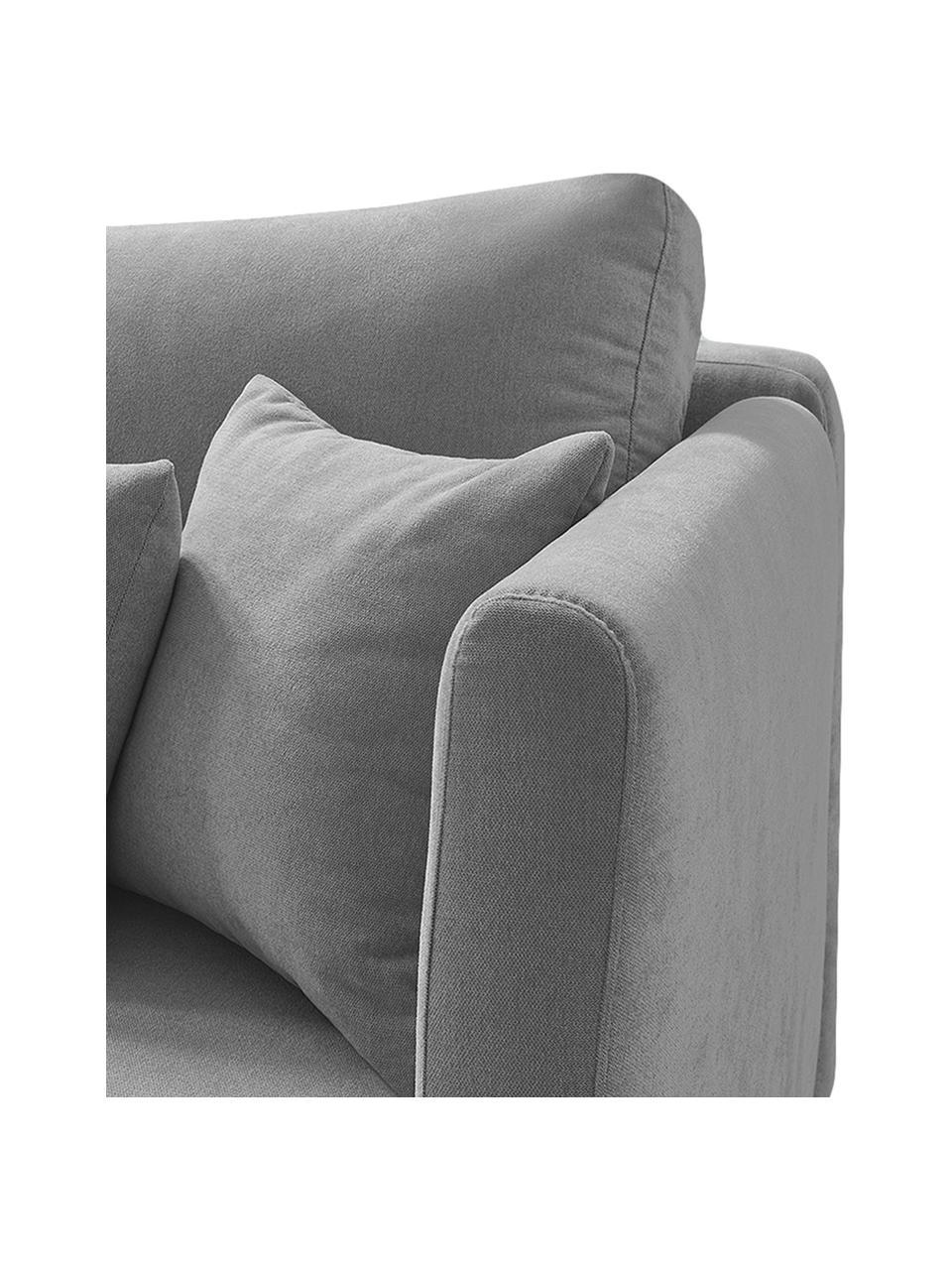 Sofa z funkcją spania Triplo (3-osobowa), Tapicerka: 100% aksamit poliestrowy, Nogi: metal lakierowany, Szary, S 216 x G 105 cm