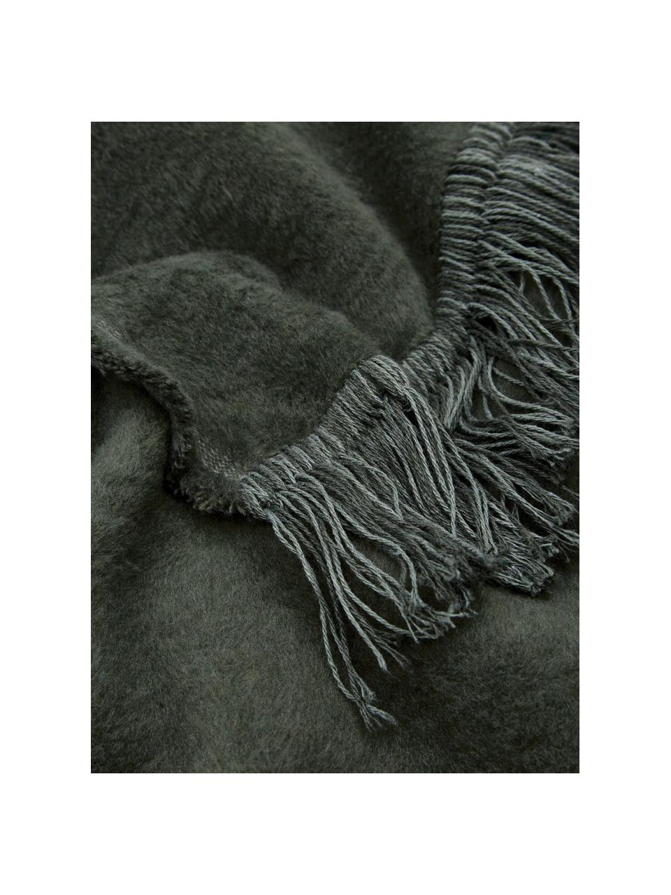Koc z bawełny z frędzlami Vienna, 85% bawełna, 8% wiskoza, 7% poliakryl, Ciemnyzielony, S 150 x D 200 cm