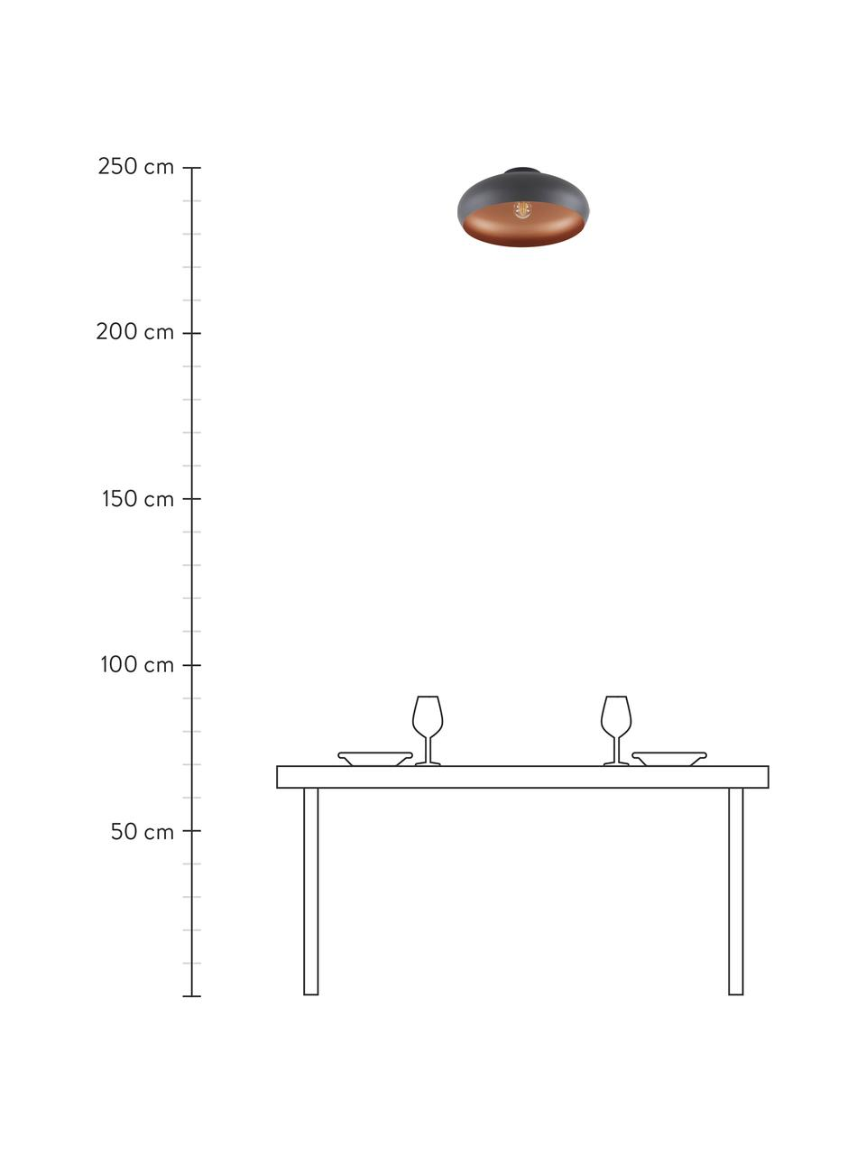 Deckenleuchte Jeff in Kupfer-Schwarz, Baldachin: Metall, pulverbeschichtet, Lampenschirm: Metall, pulverbeschichtet, Baldachin: Schwarz,Kupferfarben, Ø 40 x H 17 cm