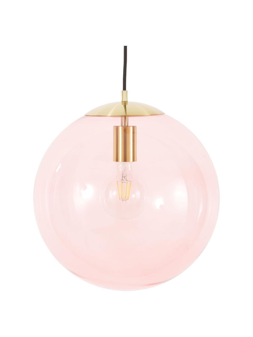 Pendelleuchte Bao aus Glas, Lampenschirm: Glas, Baldachin: Metall, galvanisiert, Rosa, Ø 35 cm