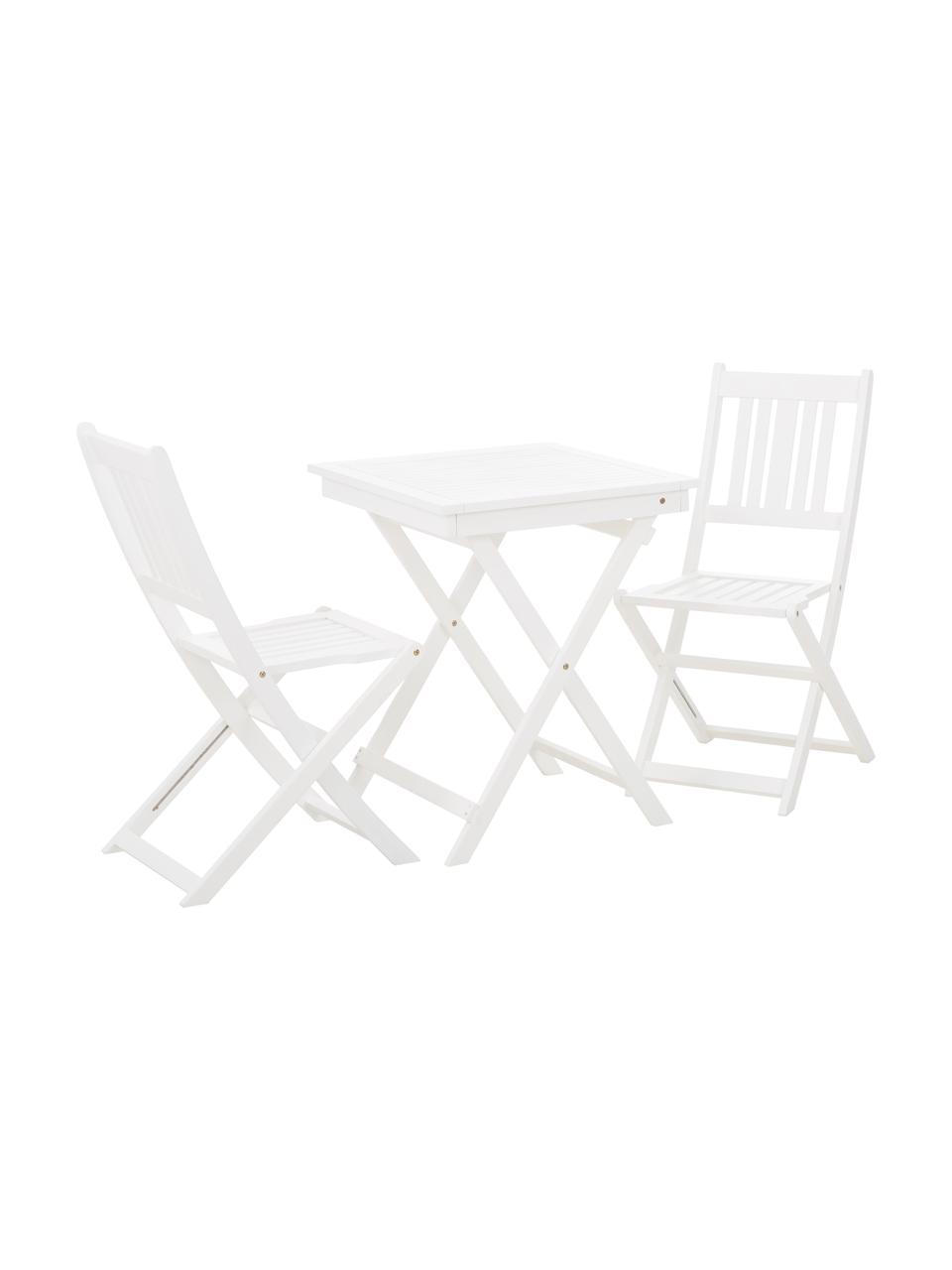 Set tavolo e sedie da giardino in legno di acacia Skyler 3 pz, Bianco, Set in varie misure