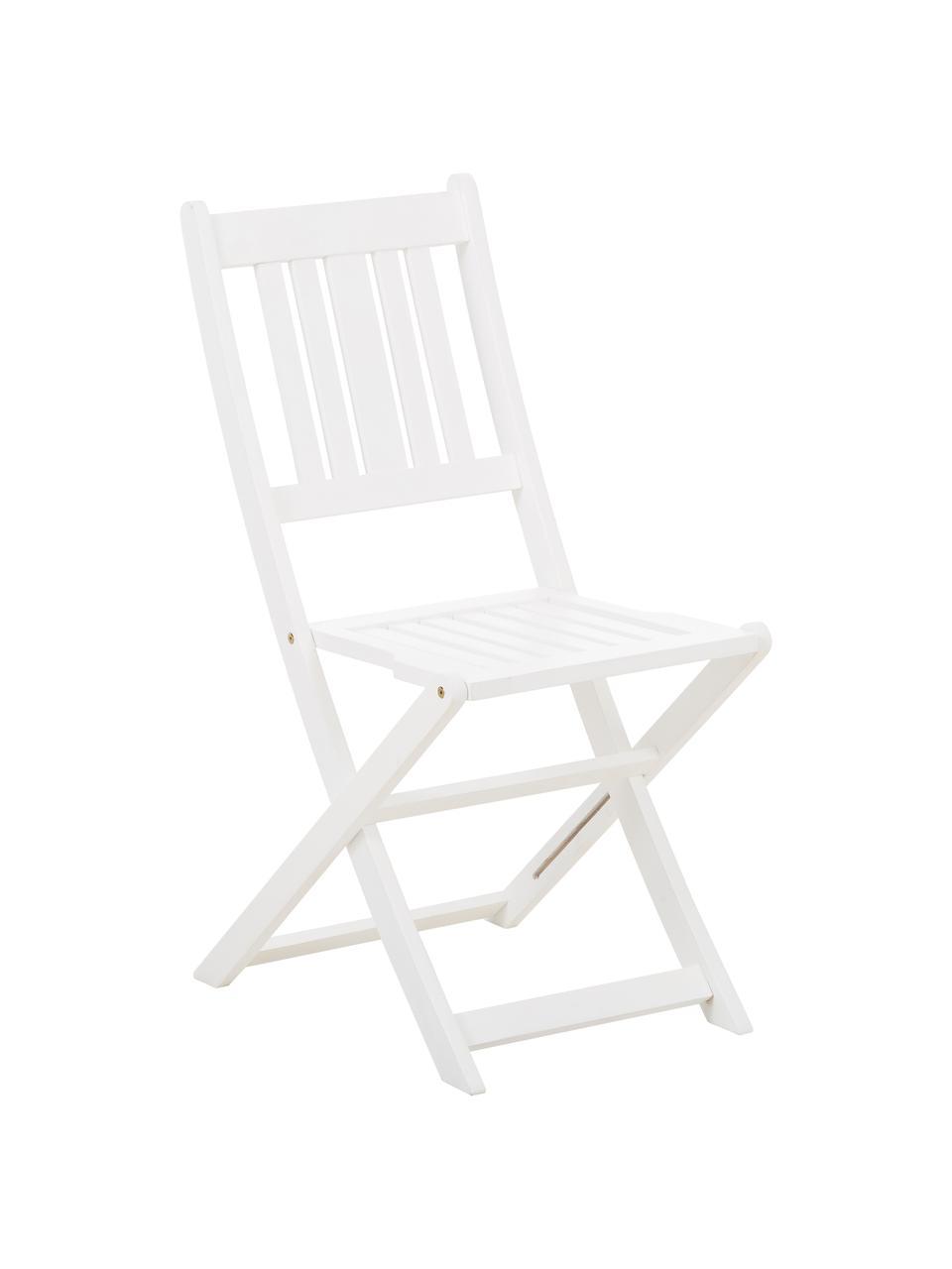 Salon de jardin en bois blanc Skyler, 3élém., Blanc