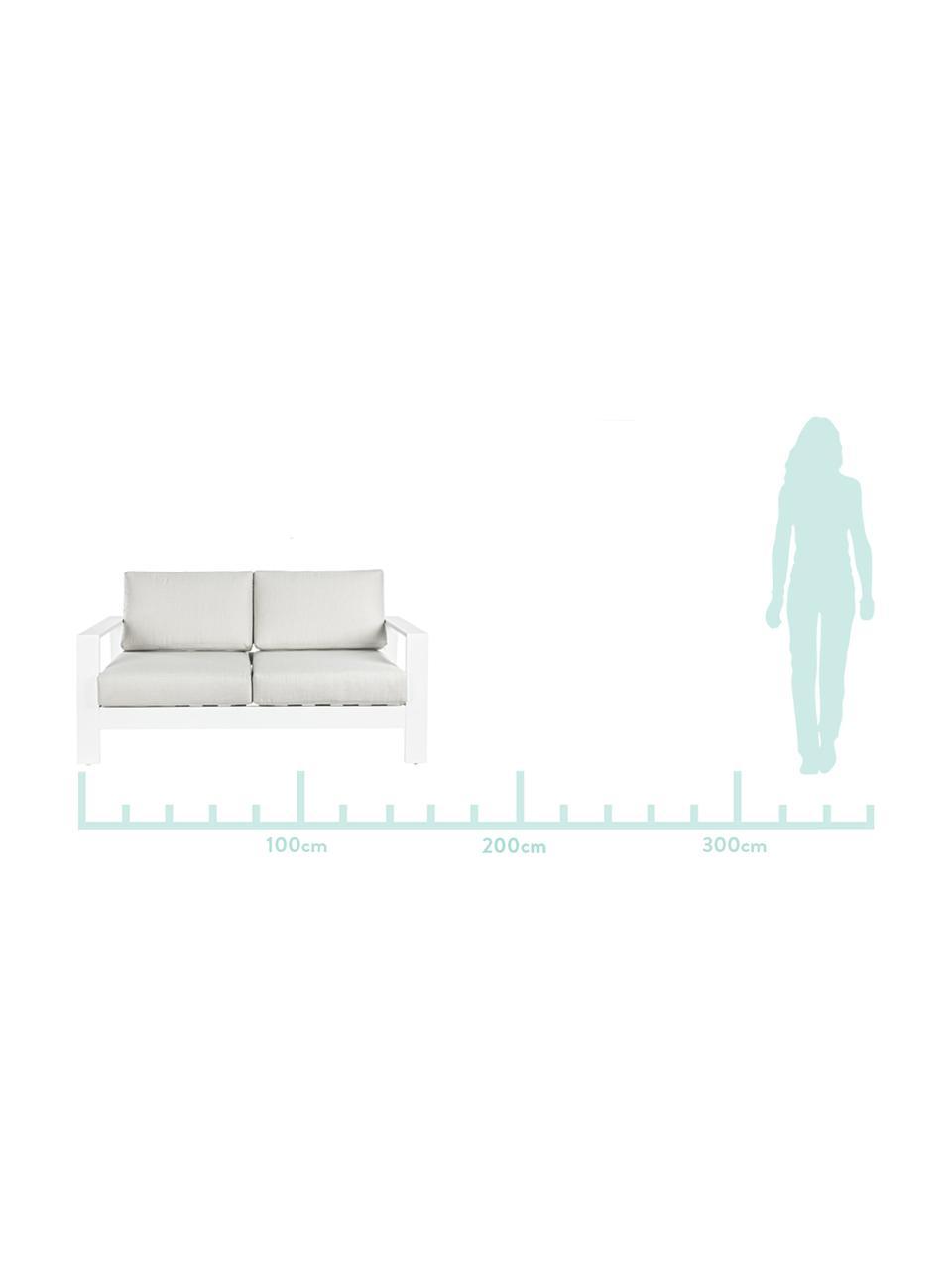 Outdoor loungeset Atlantic, 4-delig, Frame: gepoedercoat aluminium, Wit, lichtgrijs, Set met verschillende formaten