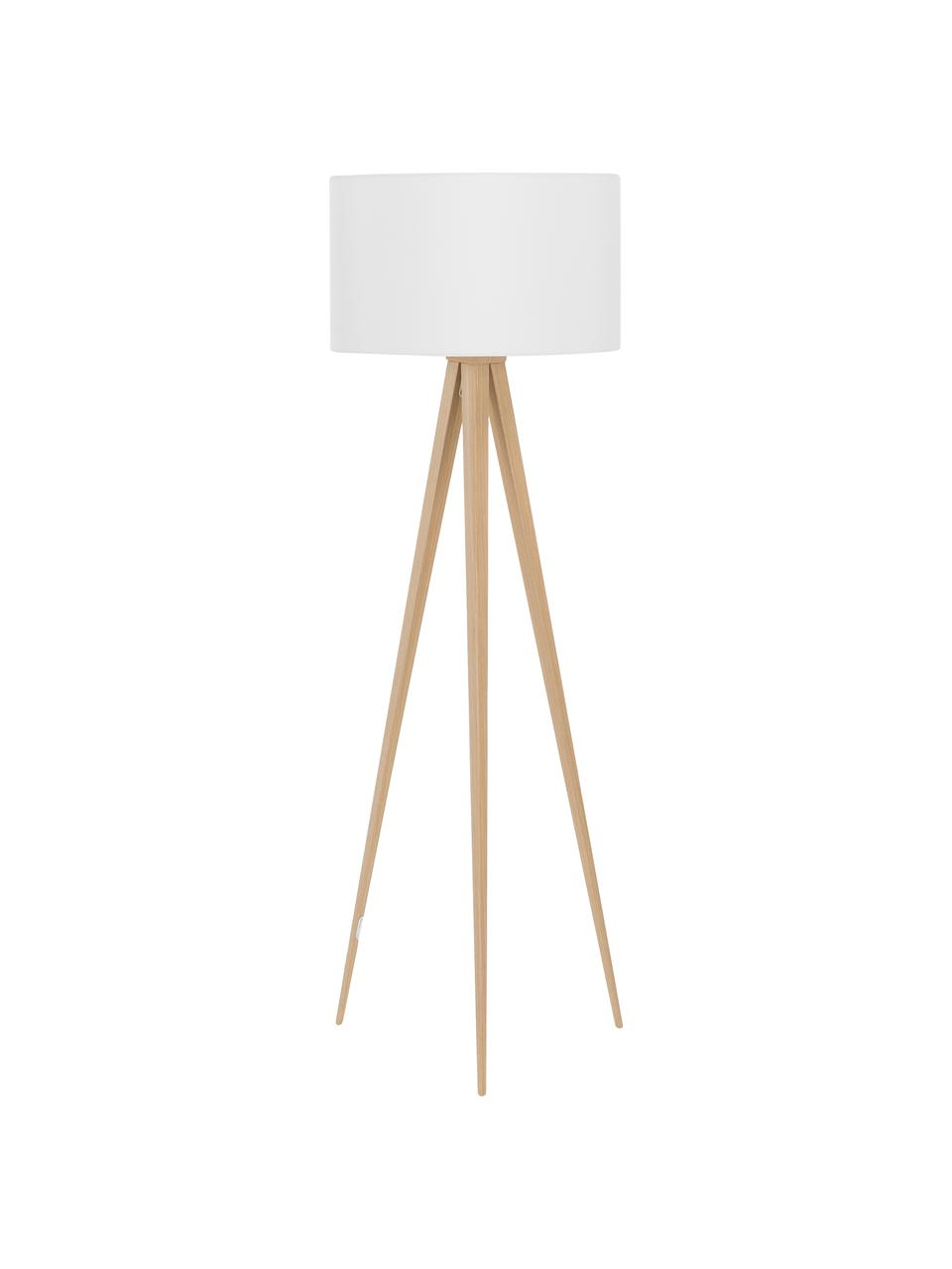 Lampadaire trépied en bois Jake, Abat-jour: blanc Pied de lampe: placage en bois