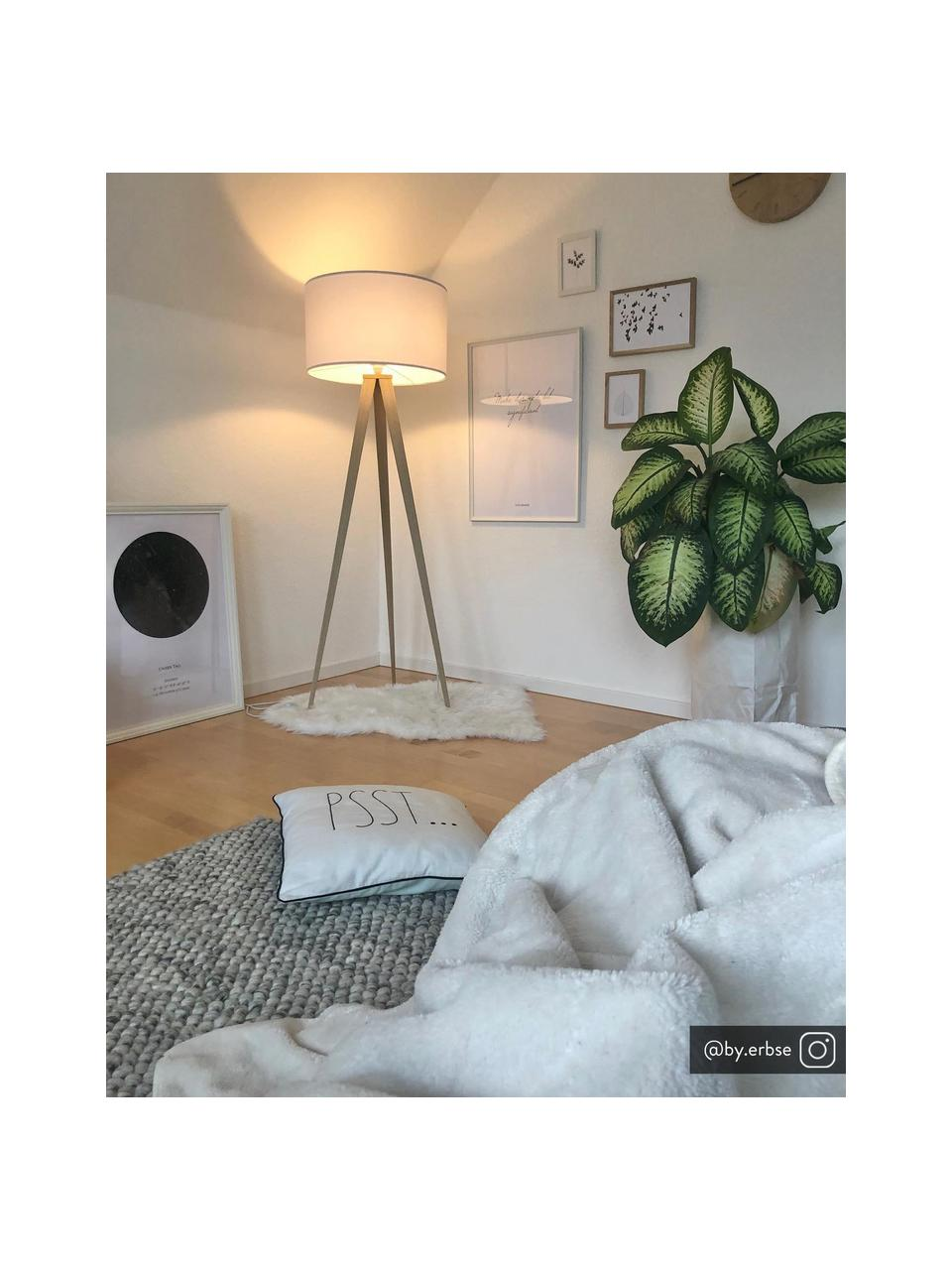 Skandi-Tripod Stehlampe Jake, Lampenschirm: Baumwolle, Lampenfuß: Metall mit Echtholzfurnie, Lampenschirm: WeißLampenfuß: Holzfurnier, ∅ 50 x H 154 cm