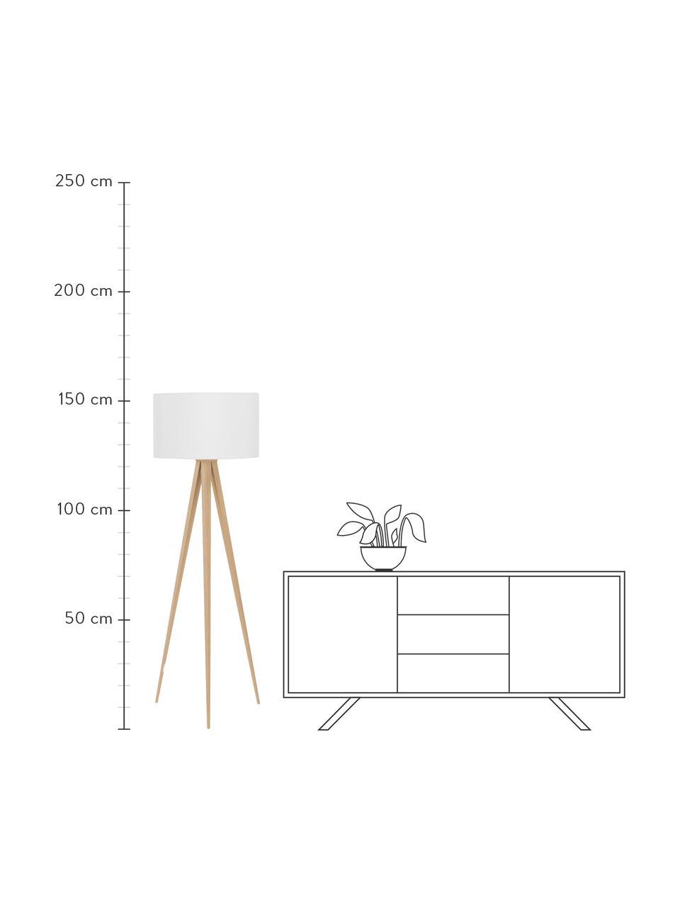 Lampada da terra con gambe in legno Jake, Paralume: cotone, Gambe: metallo con finitura in l, Paralume: bianco Gambe: finitura in legno, Ø 50 x Alt. 154 cm