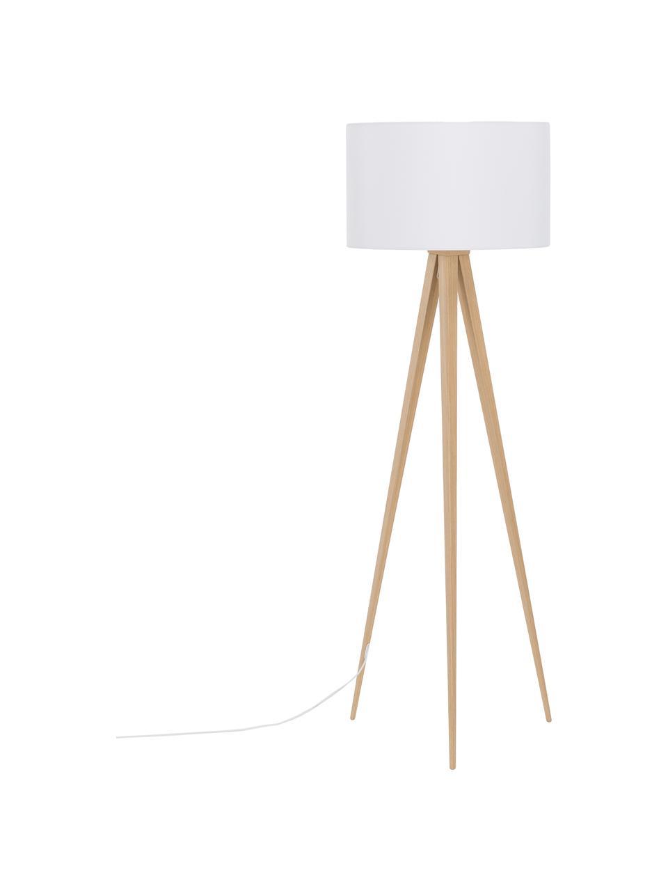 Lampadaire trépied scandi Jake, Abat-jour: blanc Pied de lampe: placage en bois