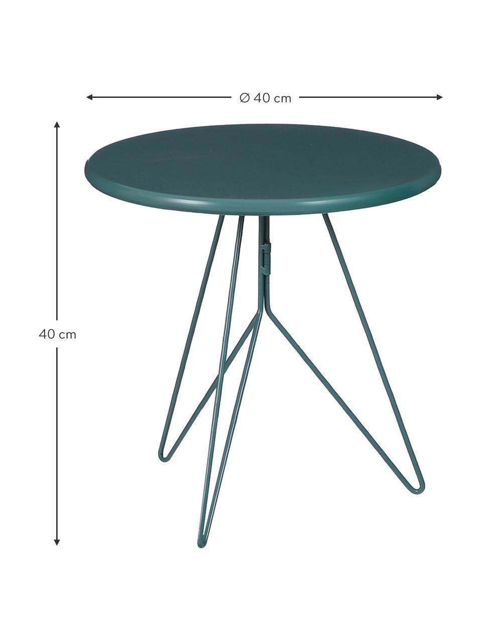 Okrągły stolik pomocniczy balkonowy z metalu Tula, Metal malowany proszkowo, Zielony, Ø 40 x W 40 cm