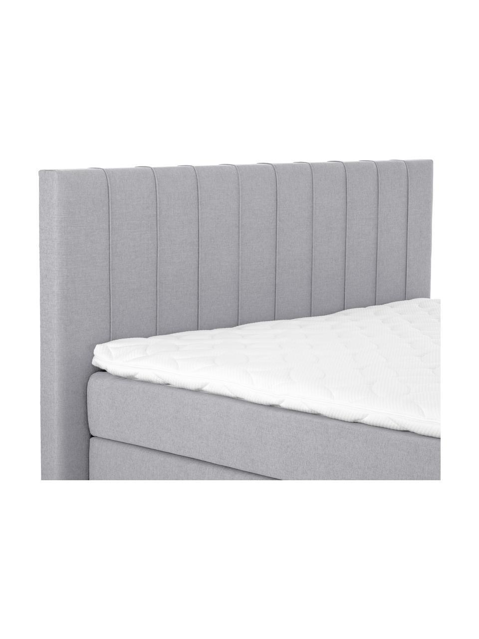 Łóżko kontynentalne premium Lacey, Nogi: lite drewno bukowe, lakie, Szary, 200 x 200 cm