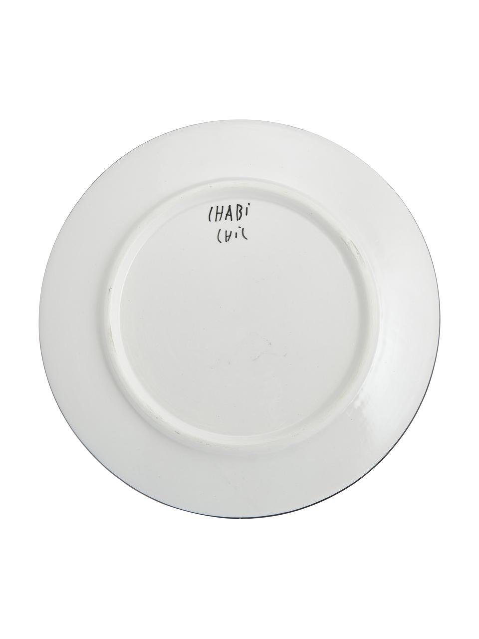 Ręcznie wykonany talerz duży Assiette, Ceramika, Czarny, odcienie kremowego, złoty, Ø 26 x W 2 cm