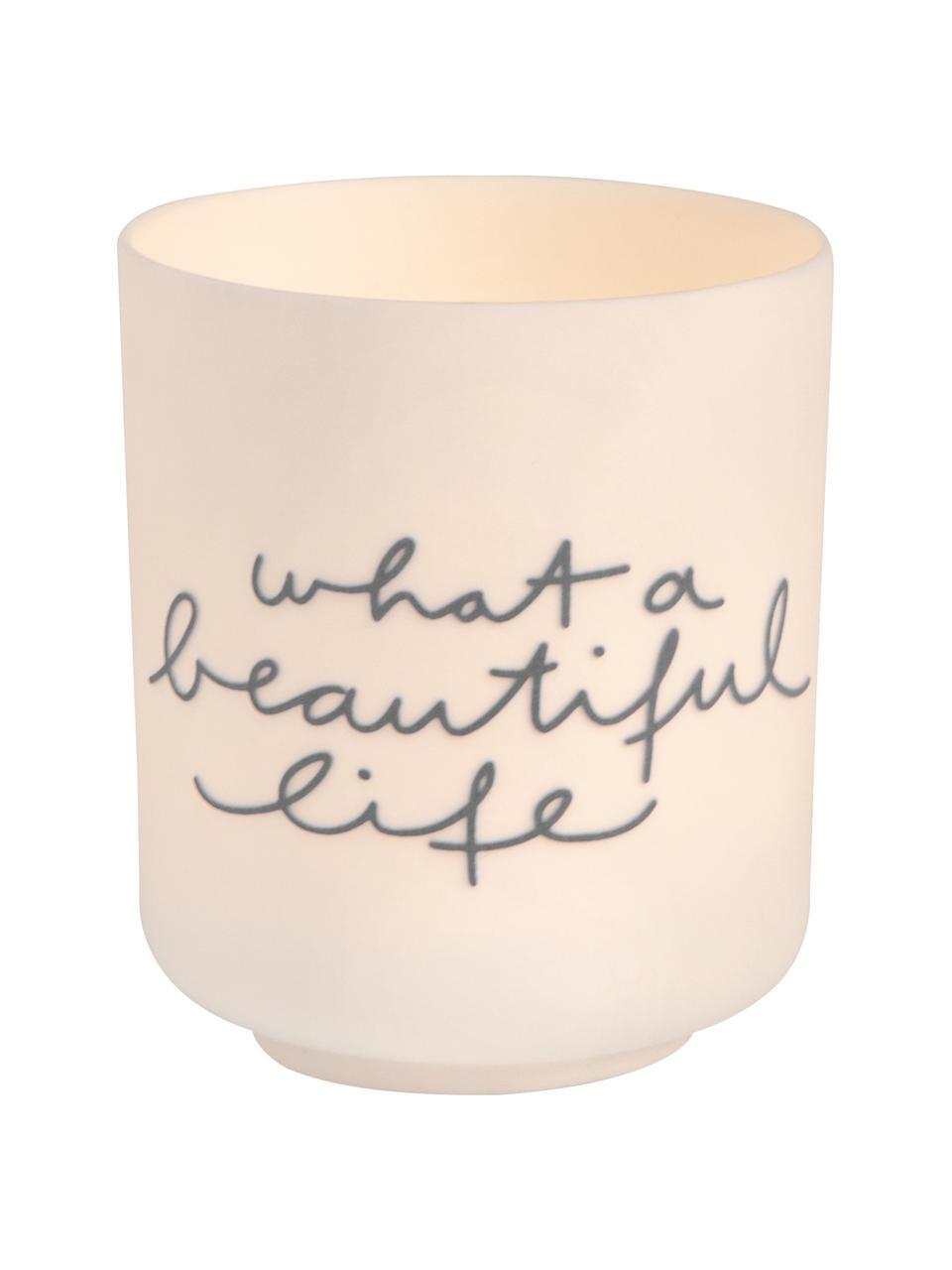 Photophore porcelaine minimaliste Poem, Blanc, bleu