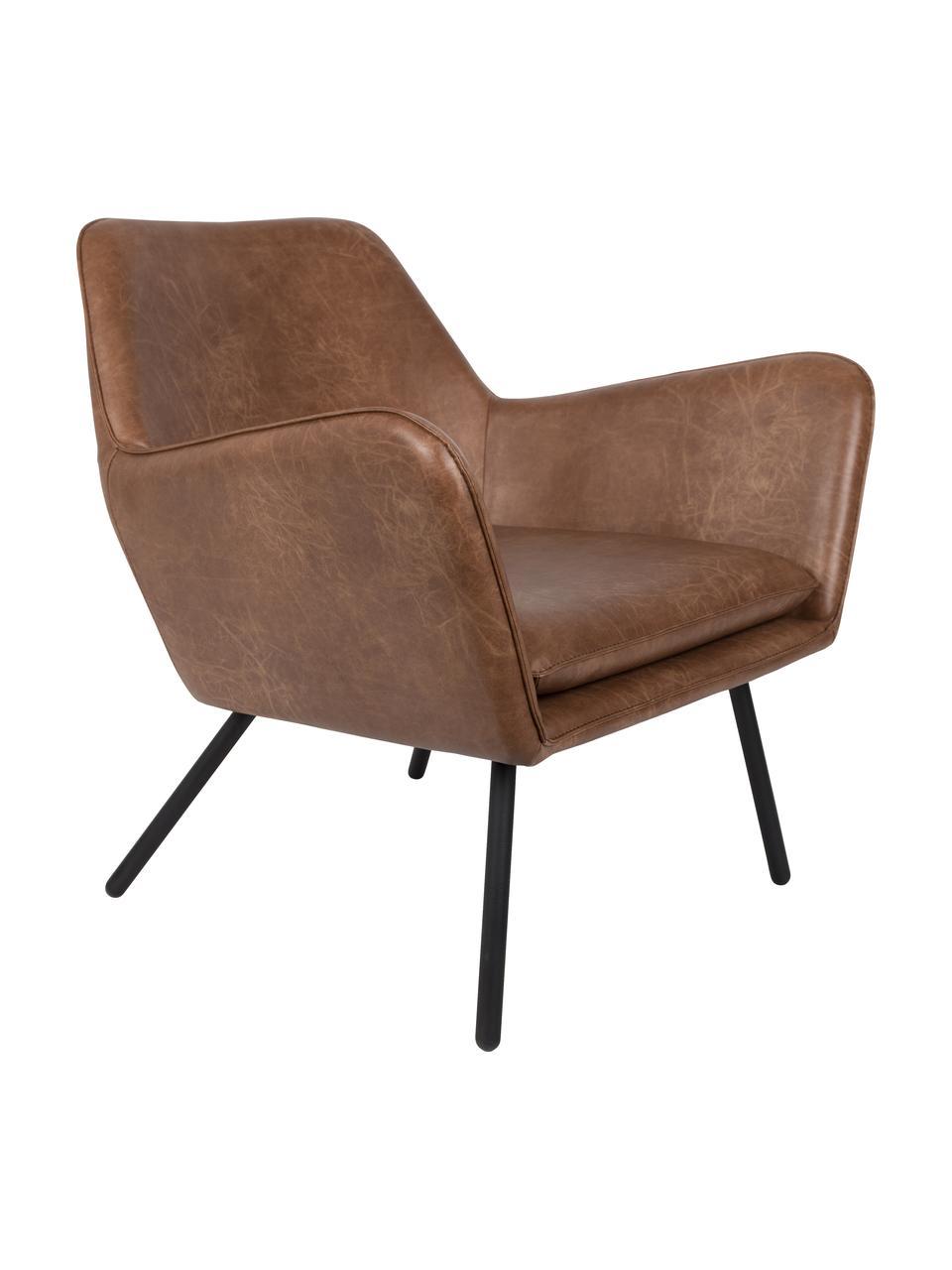 Kunstleren lounge fauteuil Bon in industrieel design, Bekleding: kunstleer (64% polyuretha, Poten: gelakt metaal, Kunstleer bruin, B 80 x D 76 cm