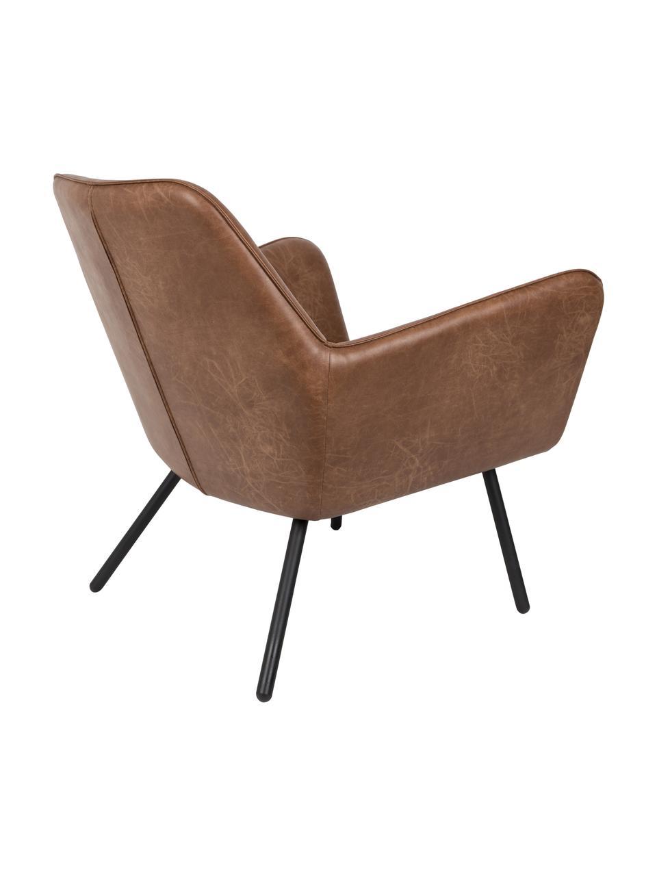 Fauteuil lounge cuir synthétique Bon, Revêtement: brun, léger relief Pieds: noir