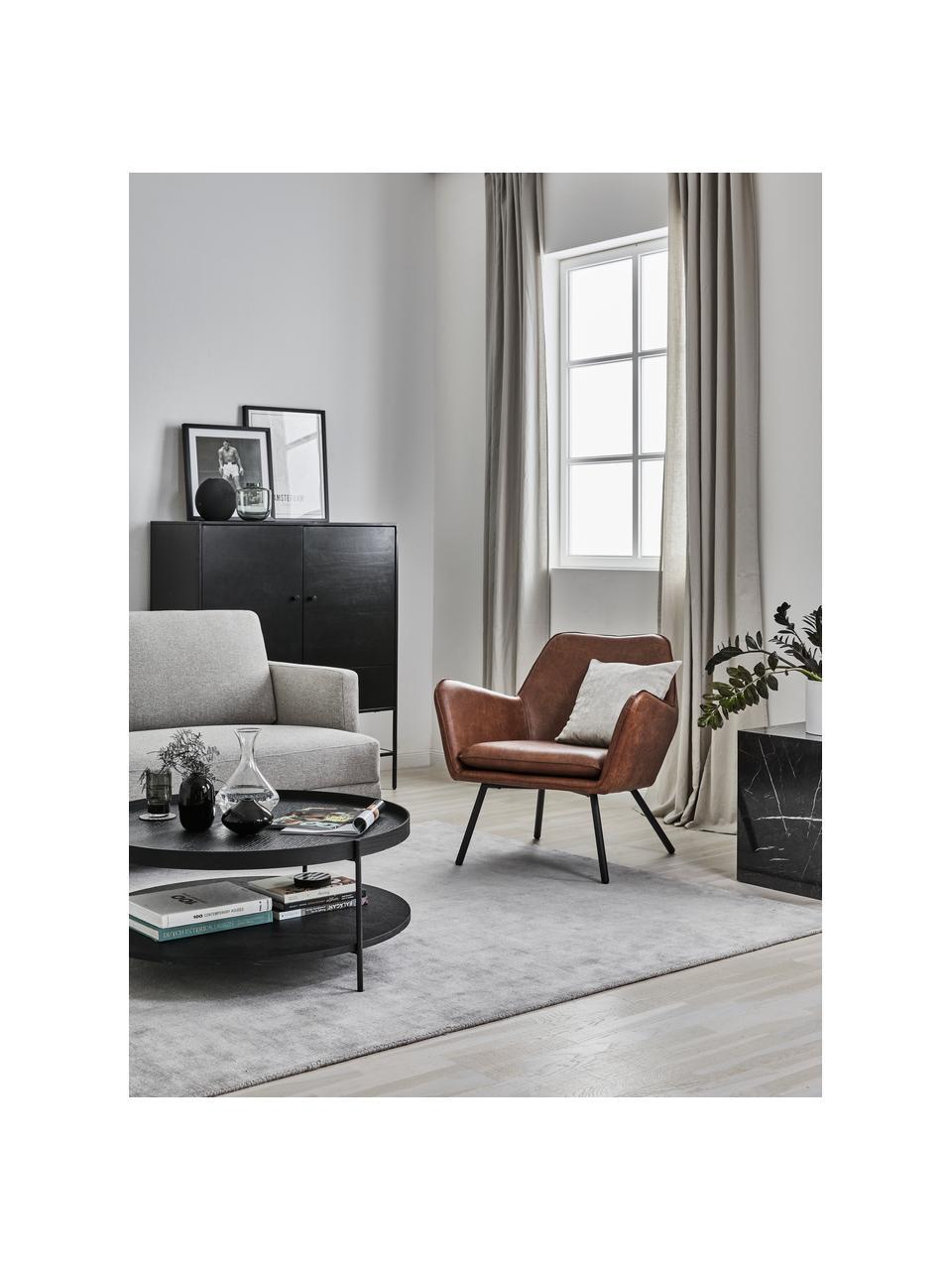 Fotel wypoczynkowy ze sztucznej skóry  Bon, Tapicerka: sztuczna skóra (64% poliu, Nogi: metal lakierowany, Sztuczna, skóra brązowy, S 80 x G 76 cm