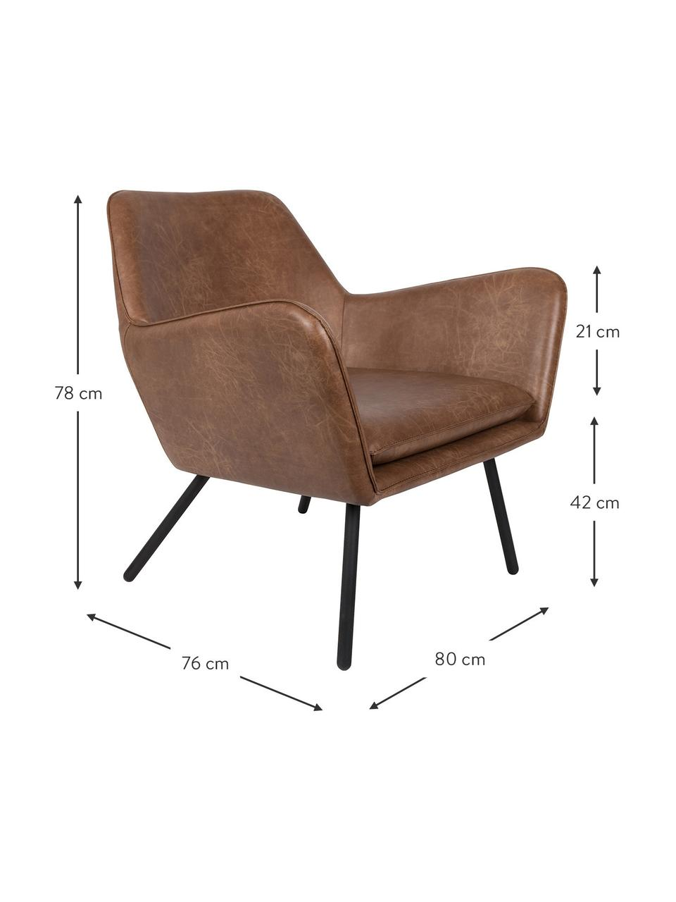 Poltrona in similpelle marrone Bon, Rivestimento: similpelle (64% poliureta, Piedini: metallo verniciato, Similpelle marrone, Larg. 80 x Alt. 76 cm